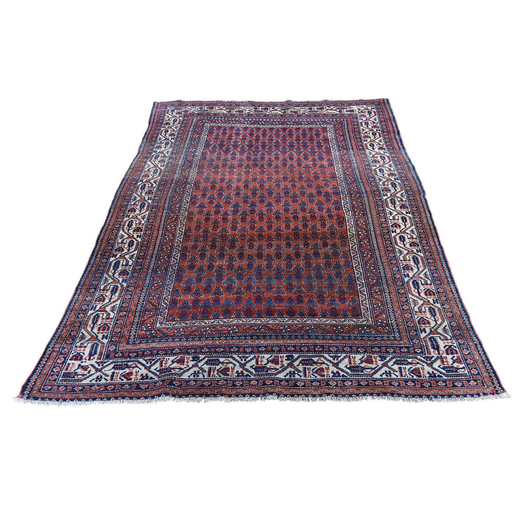 "4'5""X6'5"" Antique Persian Seraband Good Condition Even Wear Pure Wool Hand-Knotted Oriental Rug moad6a9e"