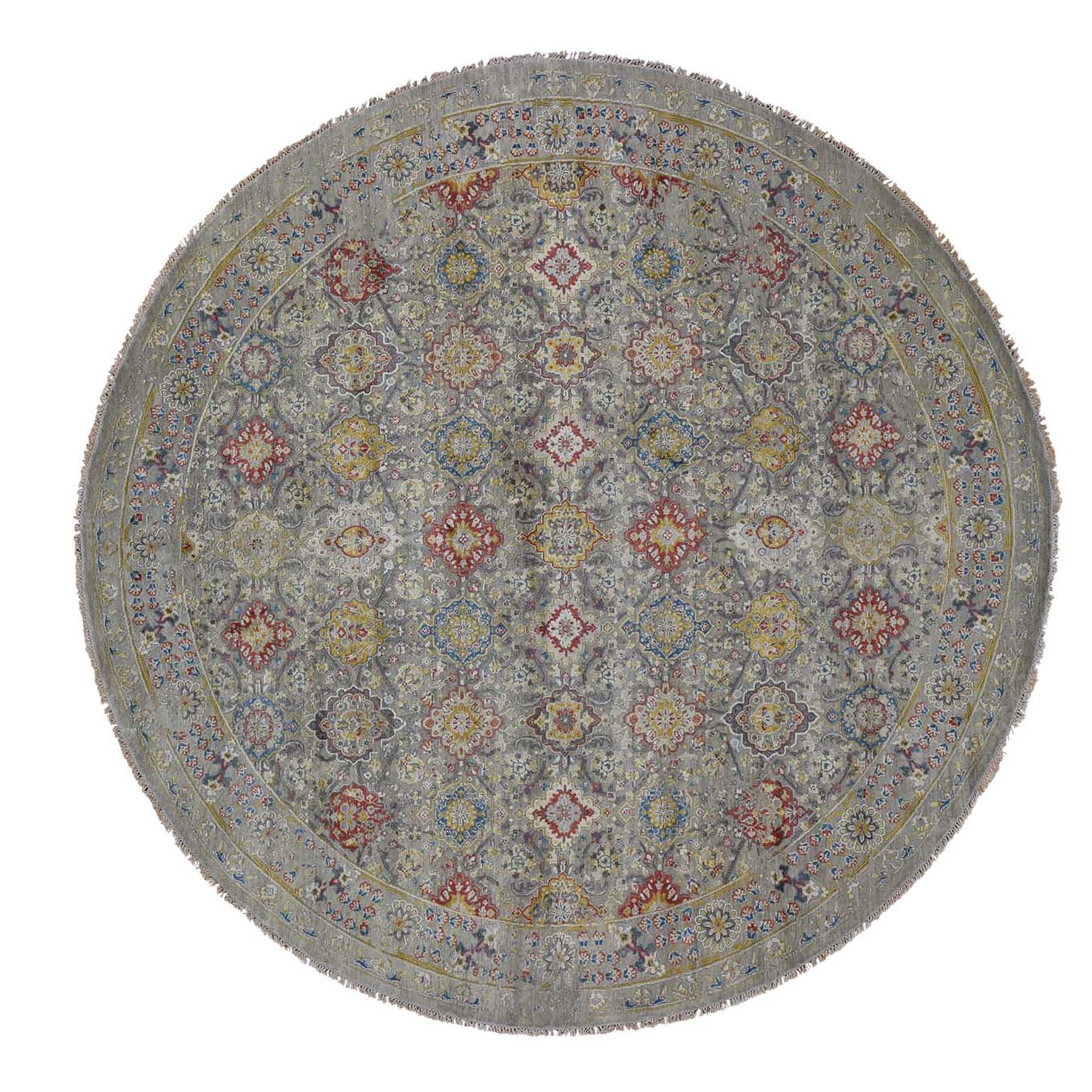 10'X10' The Sunset Rosettes Pure Silk And Wool Hand-Knotted Oriental Round Rug moad6b09