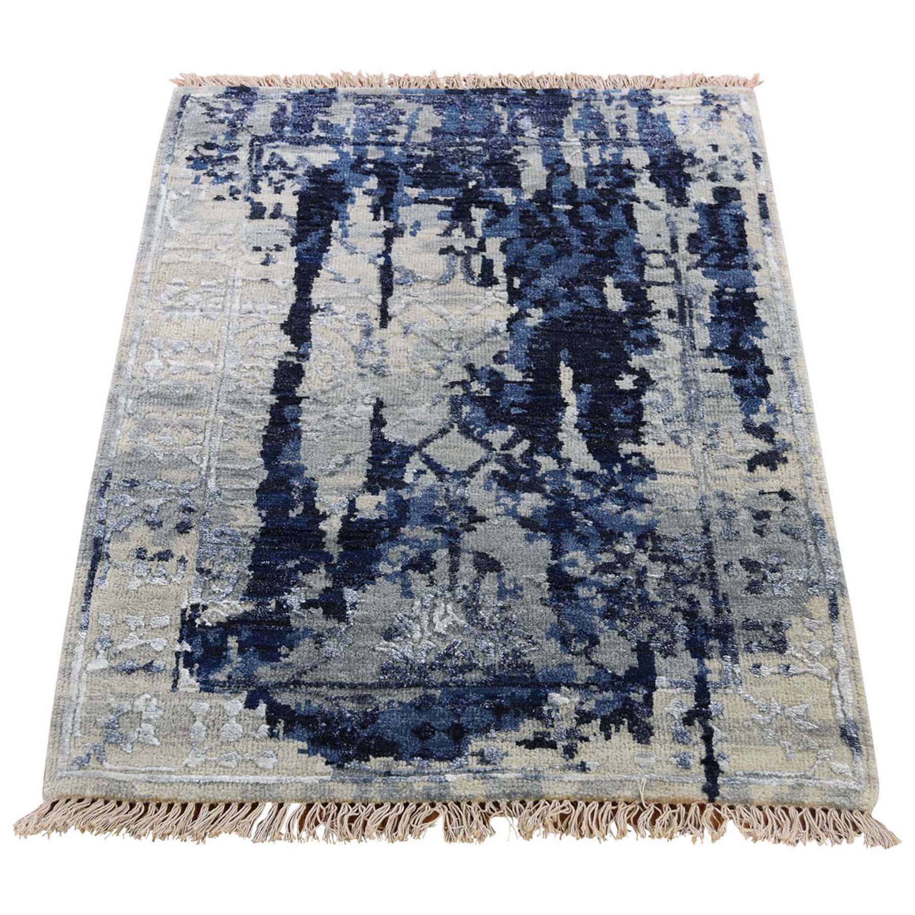 2'X3' Wool And Silk Shibori Design Tone On Tone Hand-Knotted Oriental Rug moad6bad