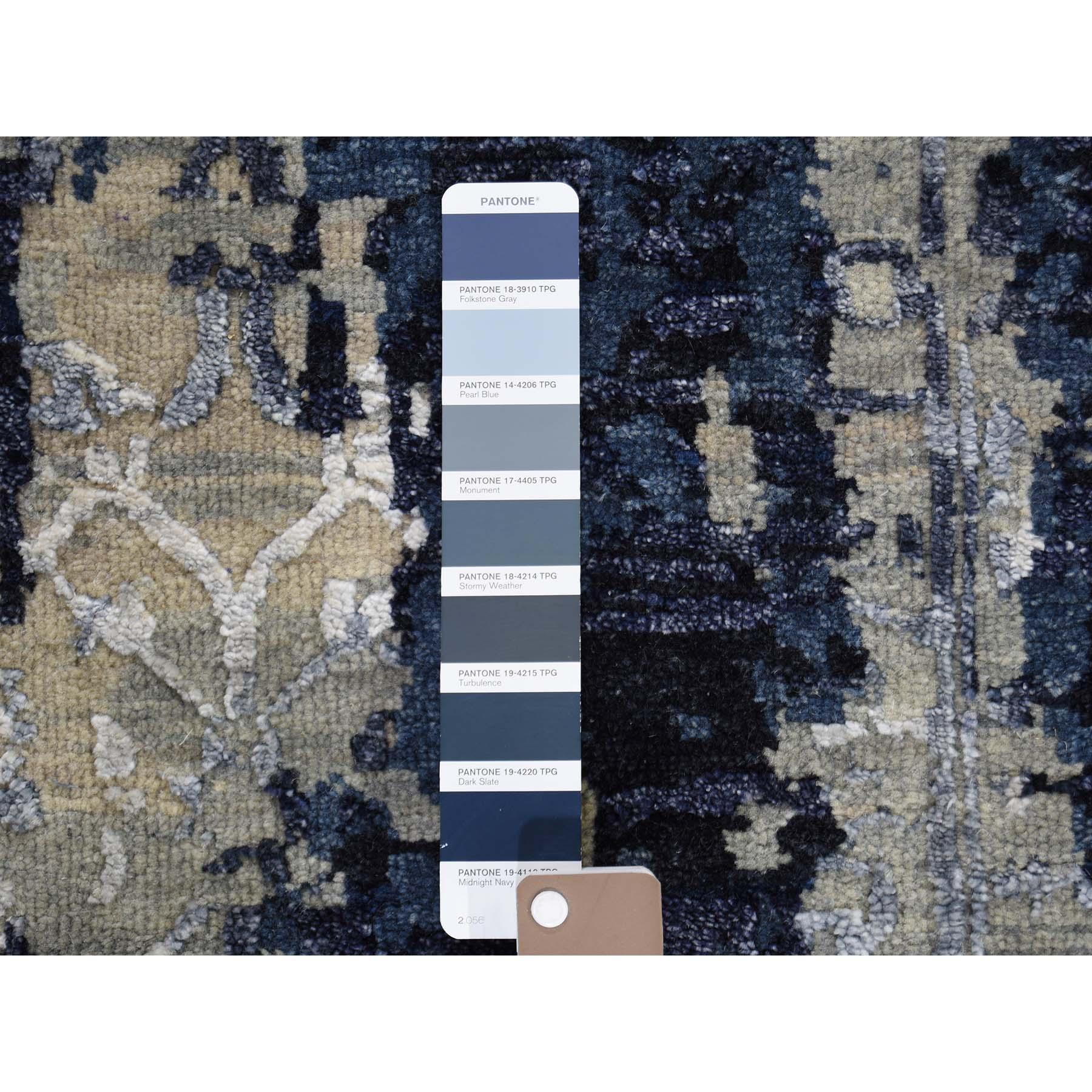 2-x3- Wool And Silk Shibori Design Tone On Tone Hand-Knotted Oriental Rug