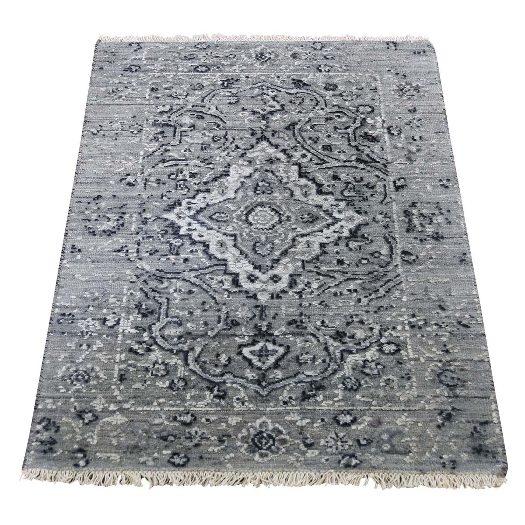 "2'1""X3'1"" Gray Broken Persian Erased Design Silk With Oxidized Wool Hand-Knotted Oriental Rug moad6ba9"