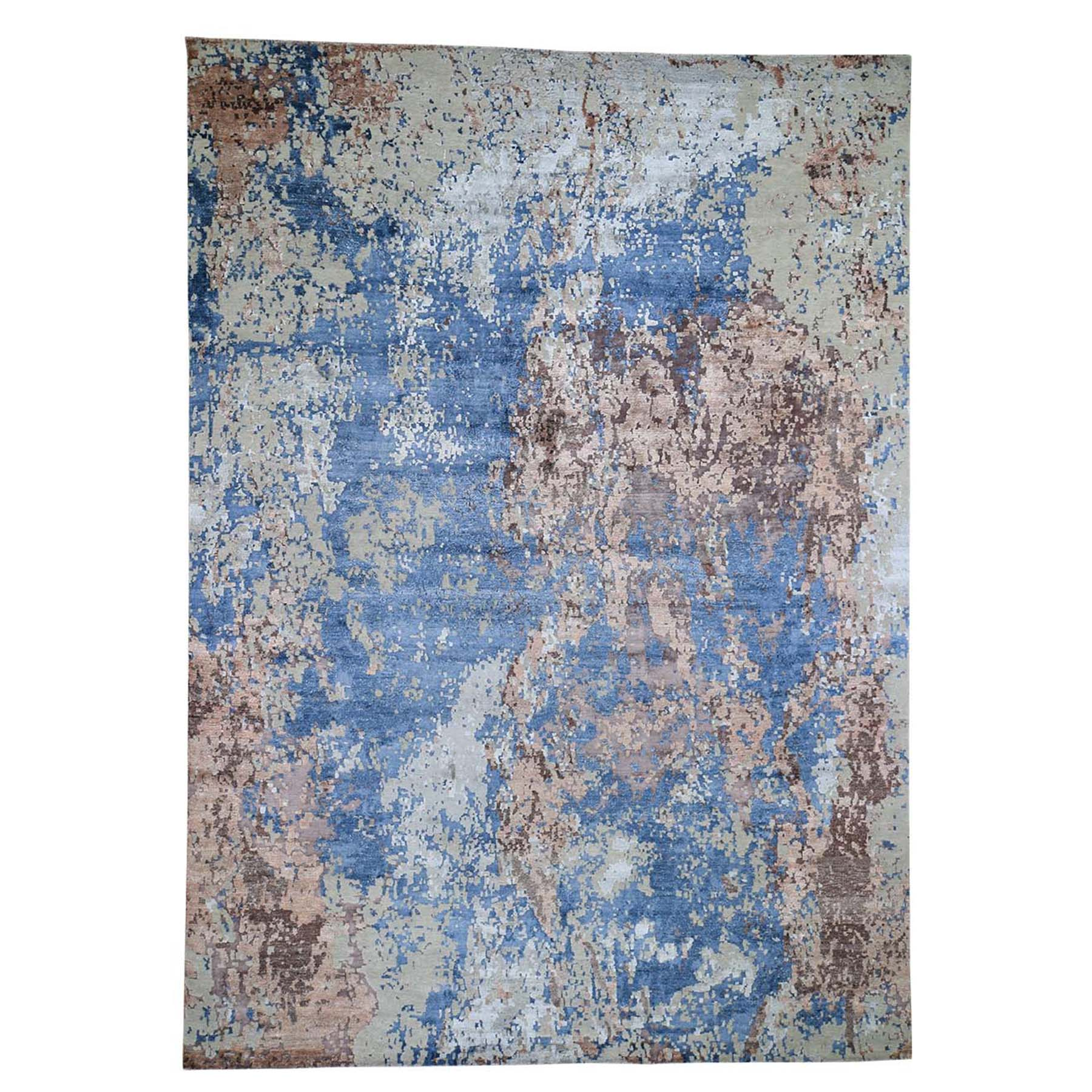 "9'10""X13'10"" Hand-Knotted Abstract Design Wool And Silk Hi And Low Pile Oriental Rug moad6bca"