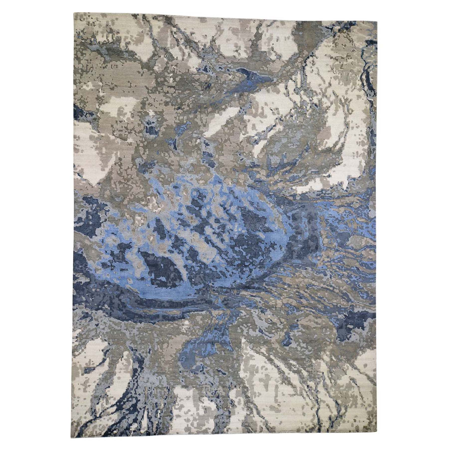 "10'X13'10"" Abstract Design Wool And Silk Hi-Low Pile Hand Knotted Oriental Rug moad6bcc"