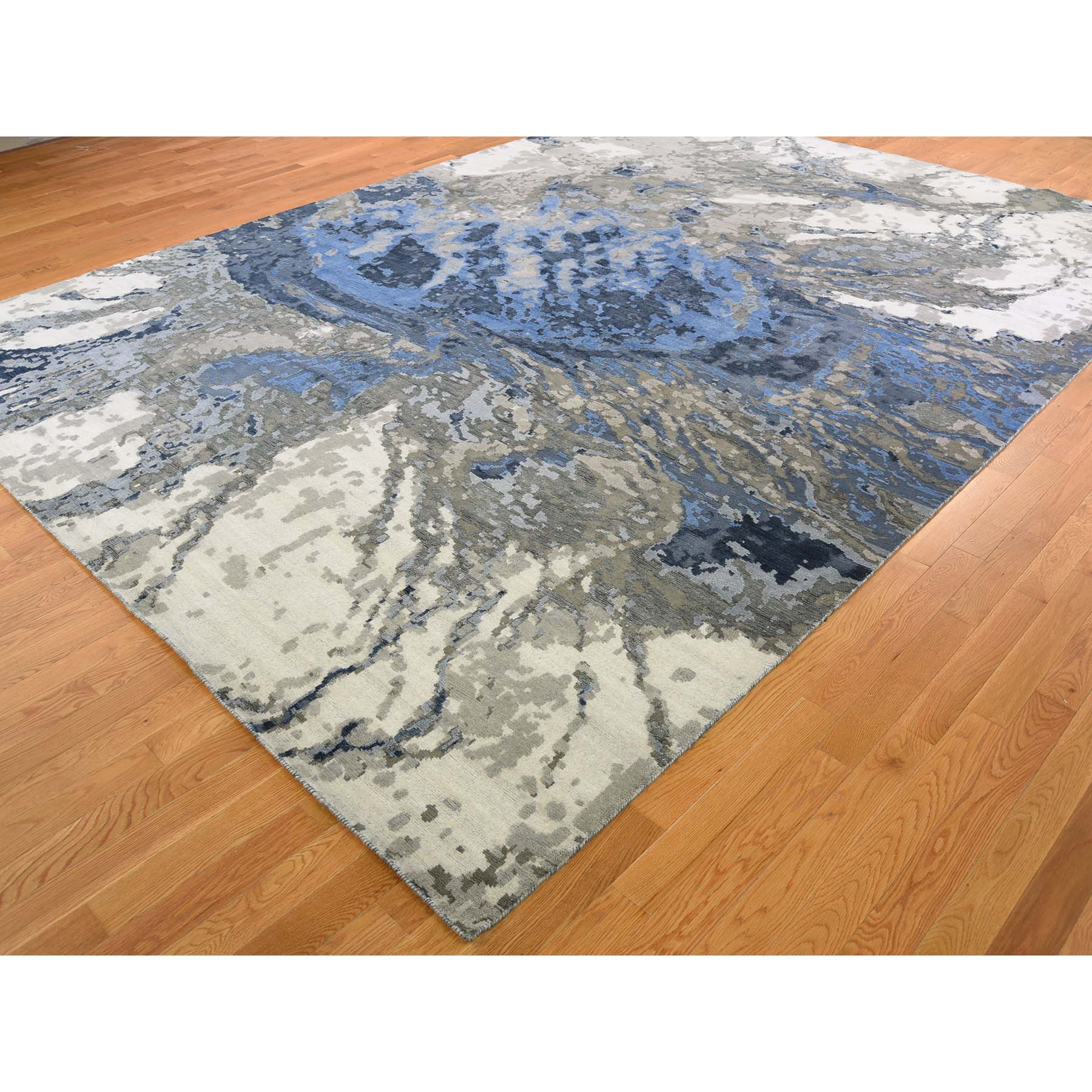 """10'x13'10"""" Abstract Design Wool and Silk Hi-low Pile Hand Knotted Oriental Rug"""