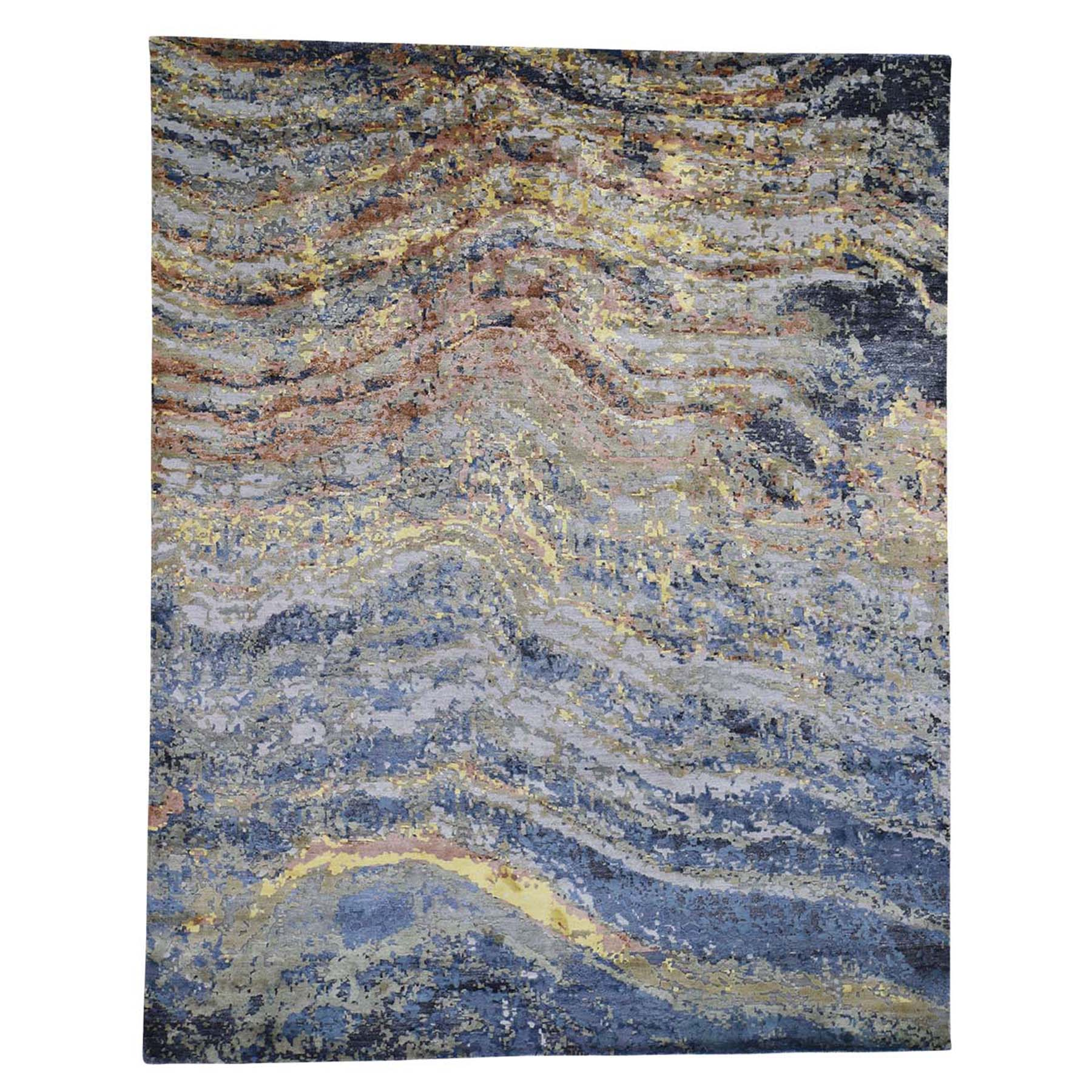"8'X10'1"" Abstract With Wave Design Wool And Pure Silk Hand-Knotted Oriental Rug moad6bec"