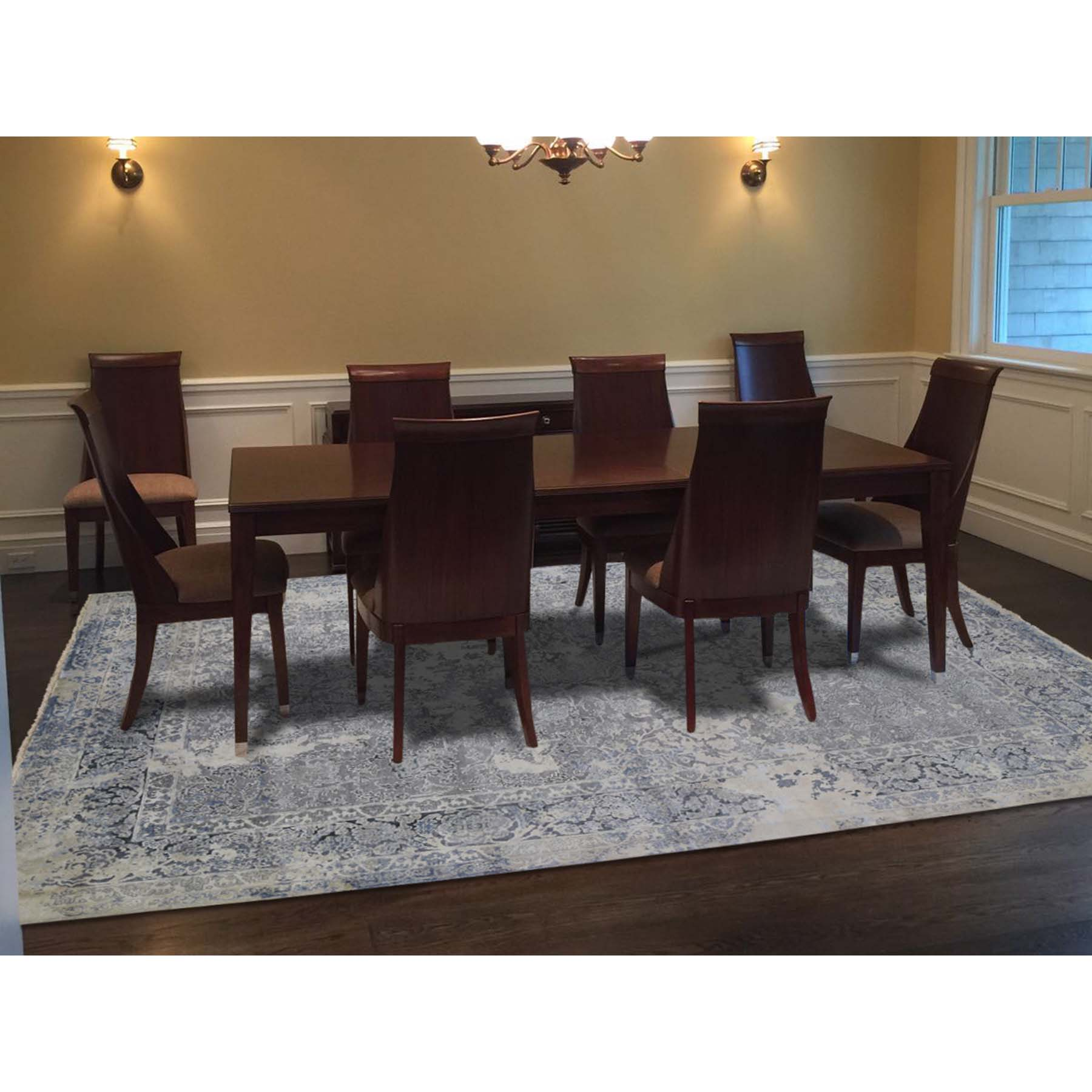 9'x12' Broken Persian Design With Pure Silk Hand-Knotted Oriental Rug