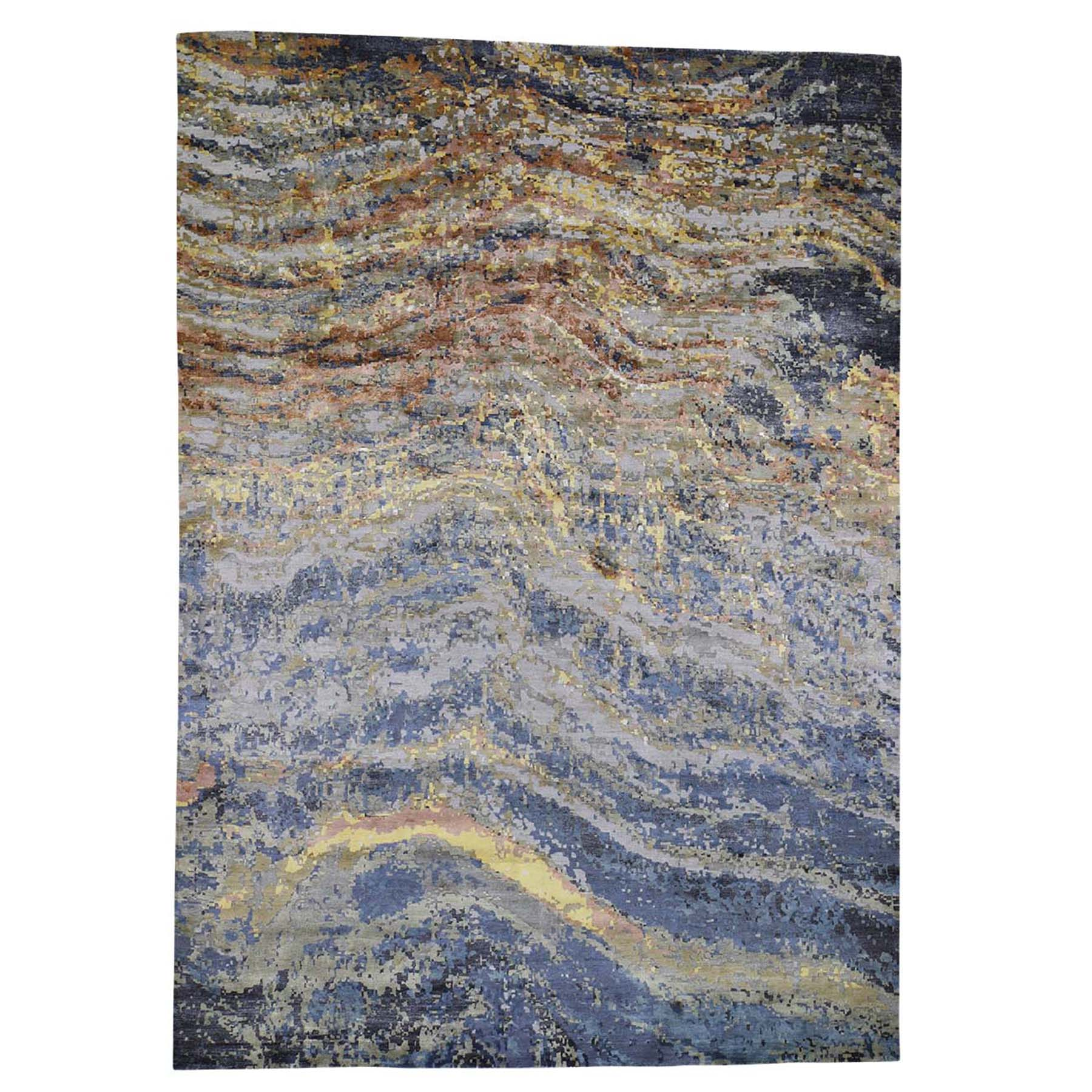 10'X14'  Abstract With Wave Design Wool And Pure Silk Hand-Knotted Oriental Rug moad6be8