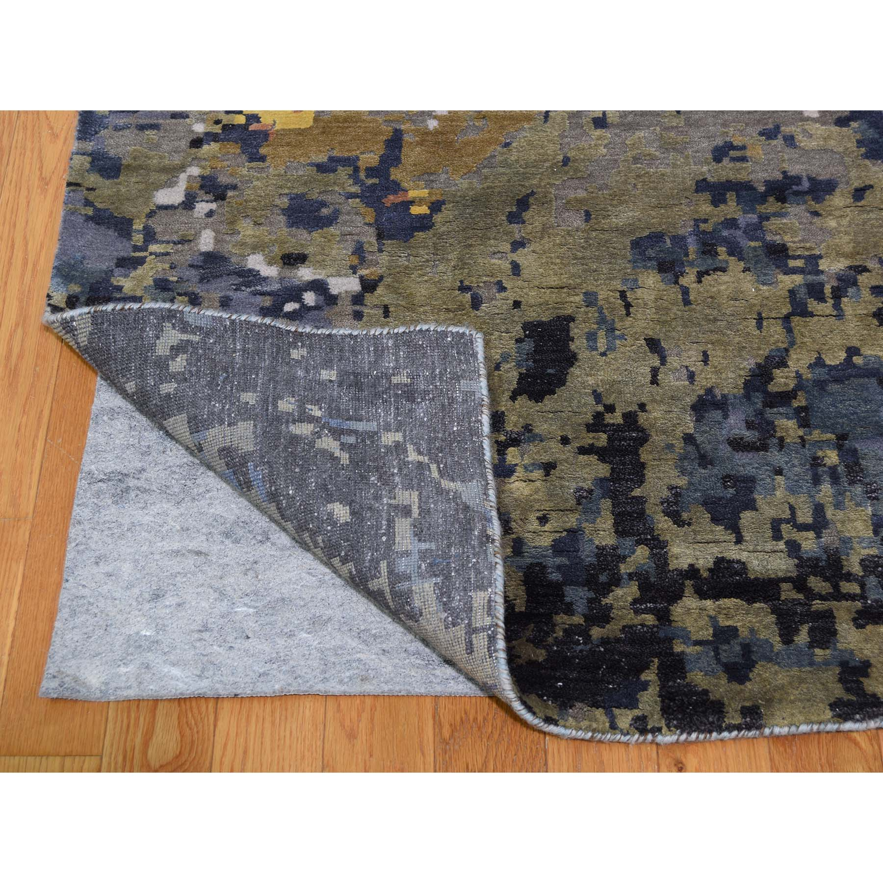10-x14-  Abstract With Wave Design Wool And Pure Silk Hand-Knotted Oriental Rug