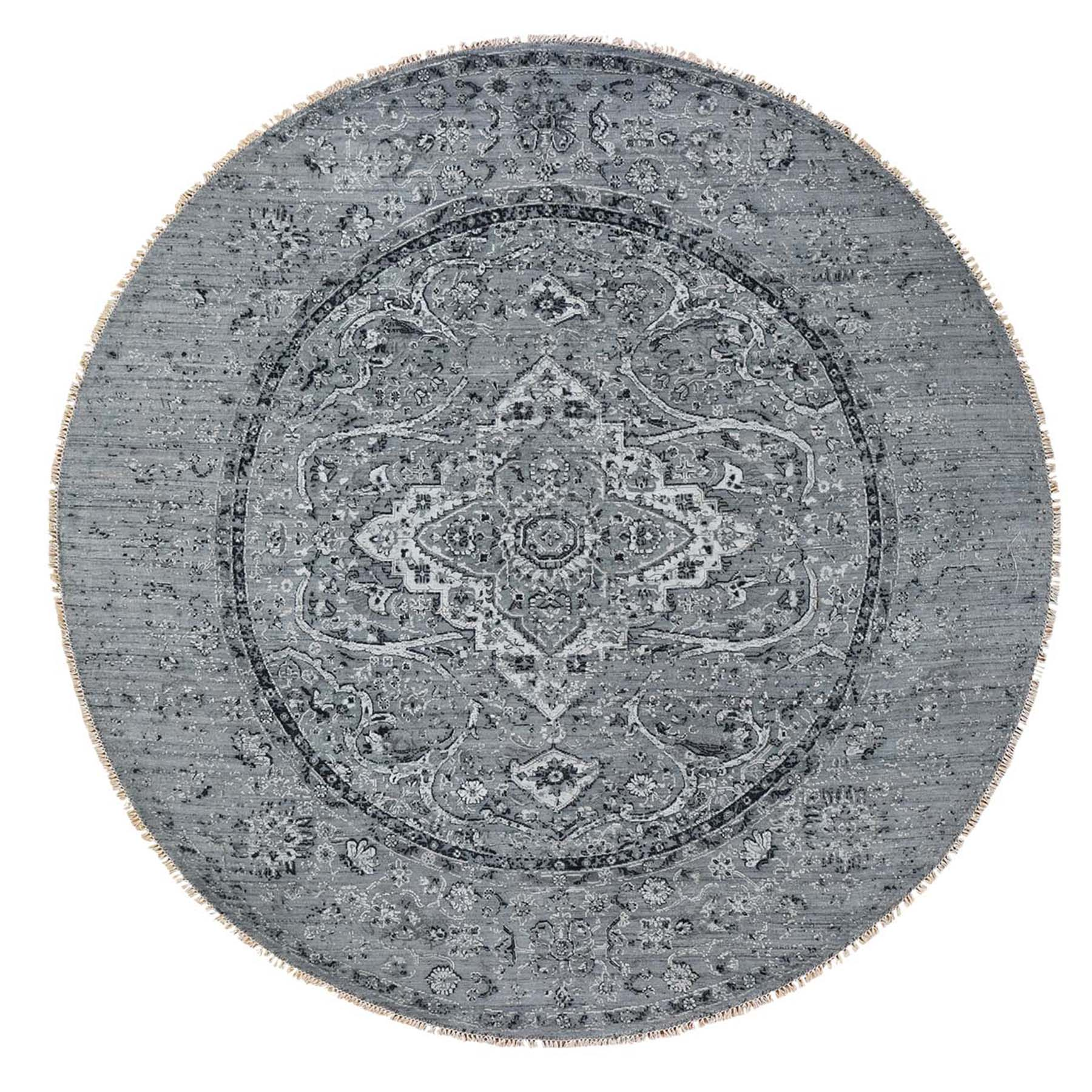 8'X8' Round Gray Broken Persian Erased Design Pure Silk With Oxidized Wool Hand-Knotted Oriental Rug moad6b6b