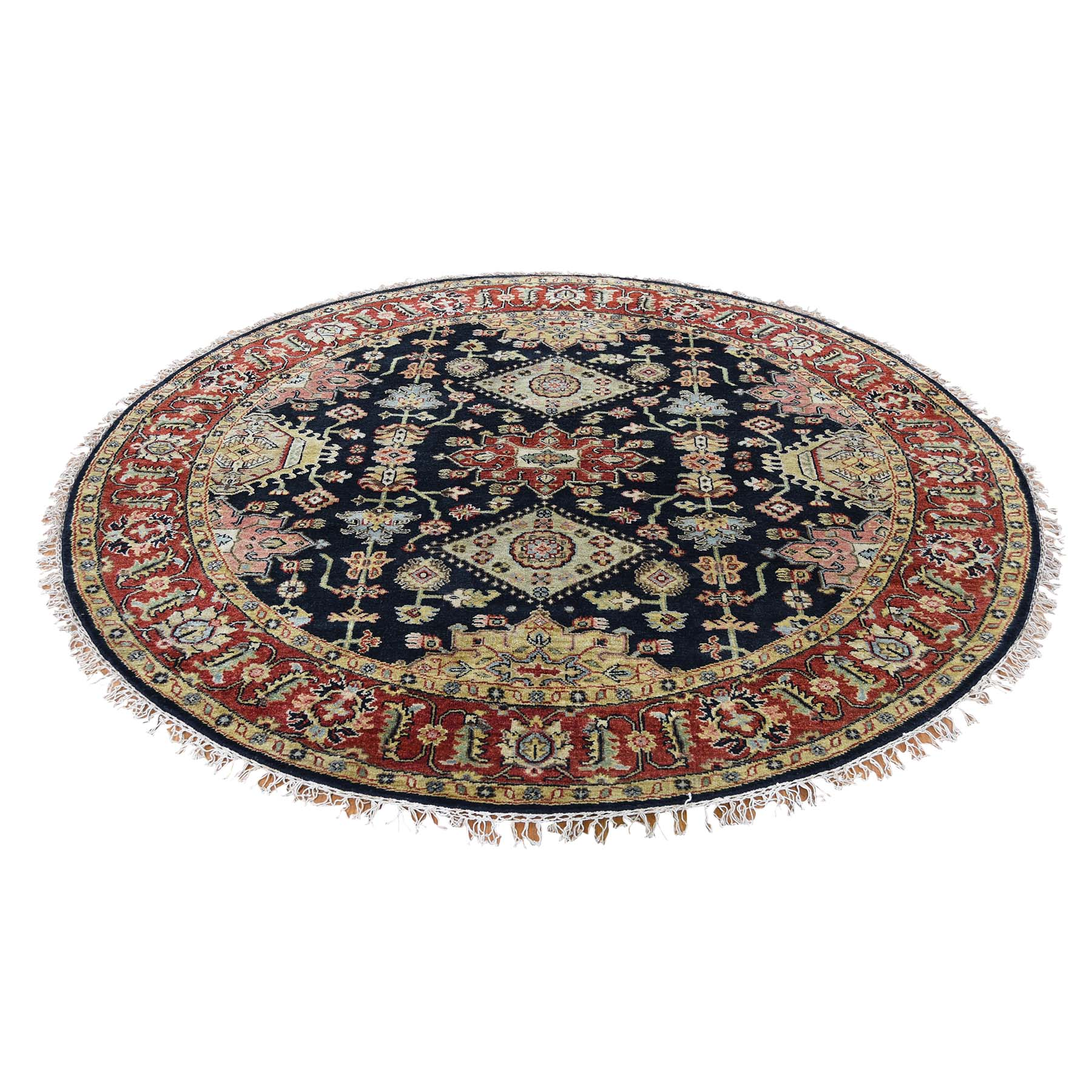 6'X6' Black Round Karajeh Design Pure Wool Hand-Knotted Oriental Rug moad6b77