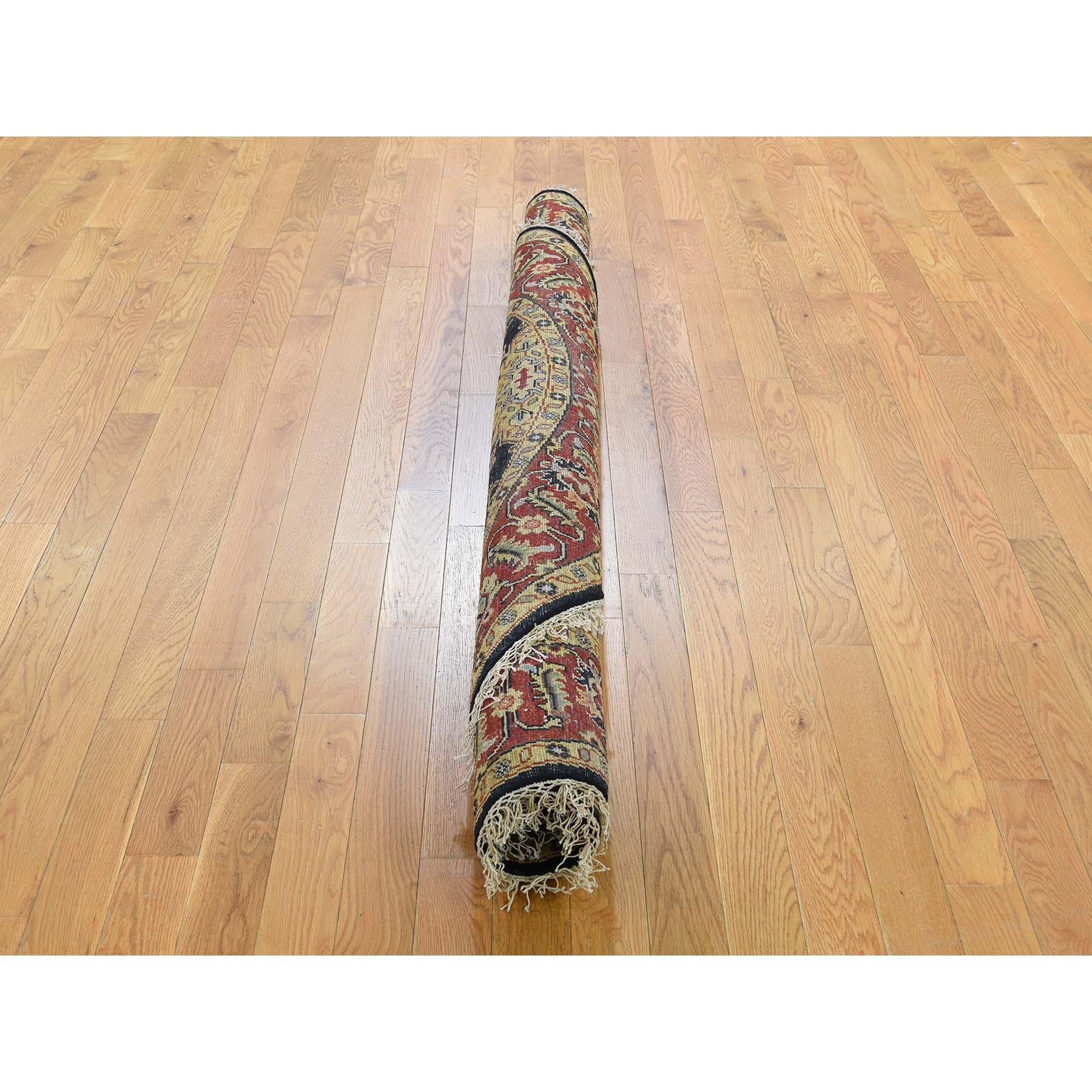 6-x6- Black Round Karajeh Design Pure Wool Hand-Knotted Oriental Rug