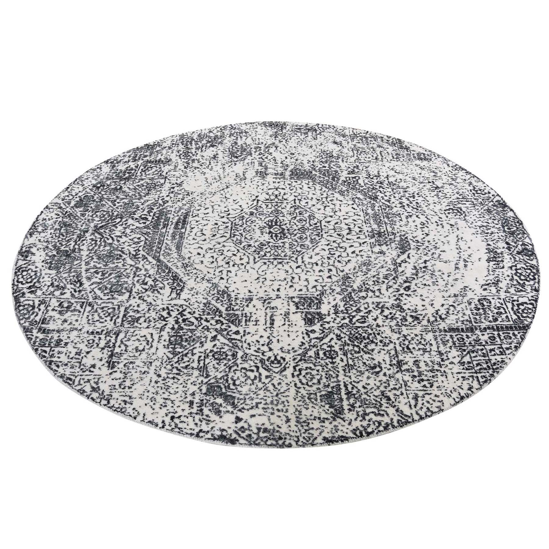 6'X6' Round Ivory Hand-Loomed With Mamluk Design Oriental Rug moad6b8c