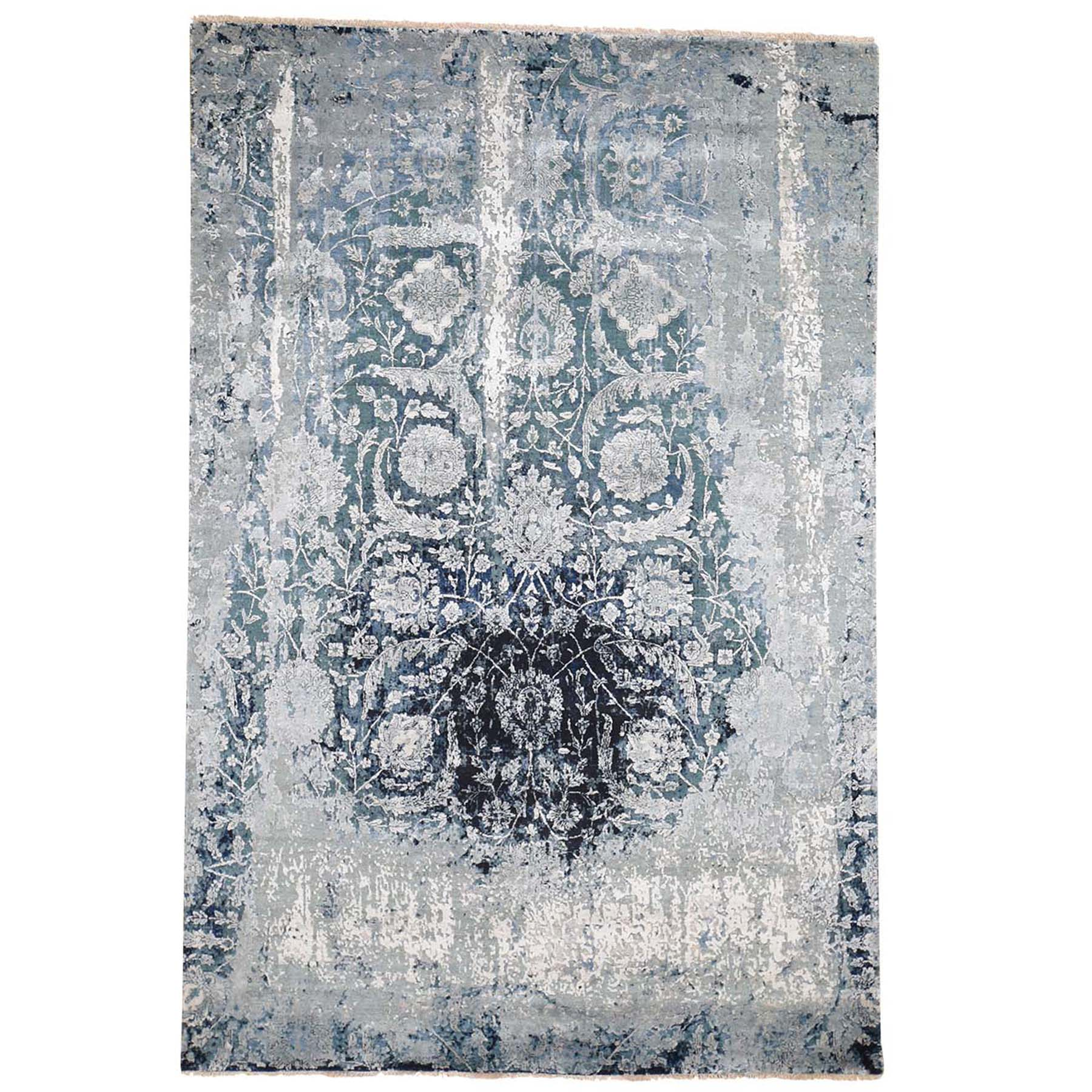 "6'X9'2"" Blue Broken Persian Tabriz Erased Design Wool And Silk Hand-Knotted Oriental Rug moad6b8e"
