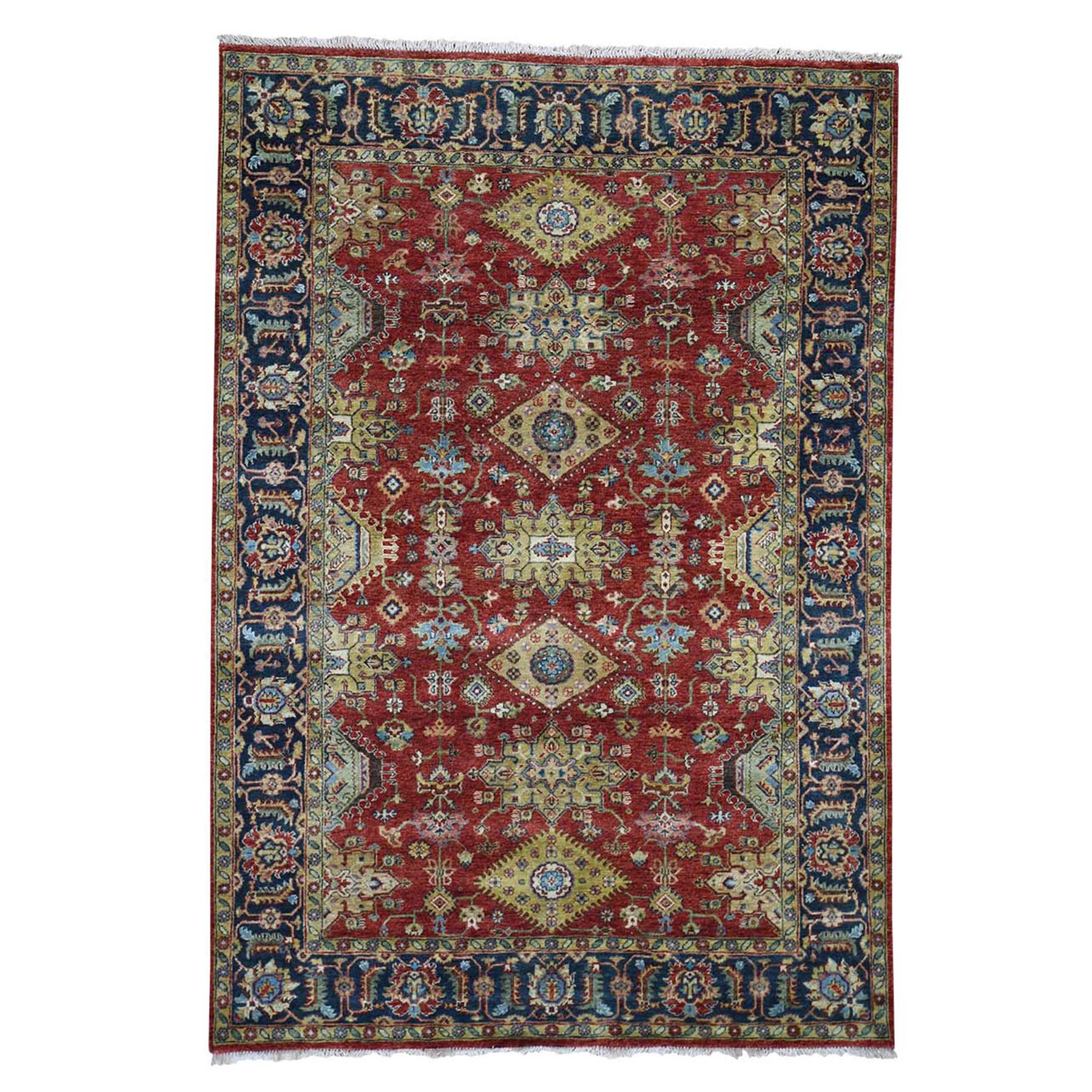 "6'X8'9"" Red Karajeh Design Pure Wool Hand-Knotted Oriental Rug moad6b97"