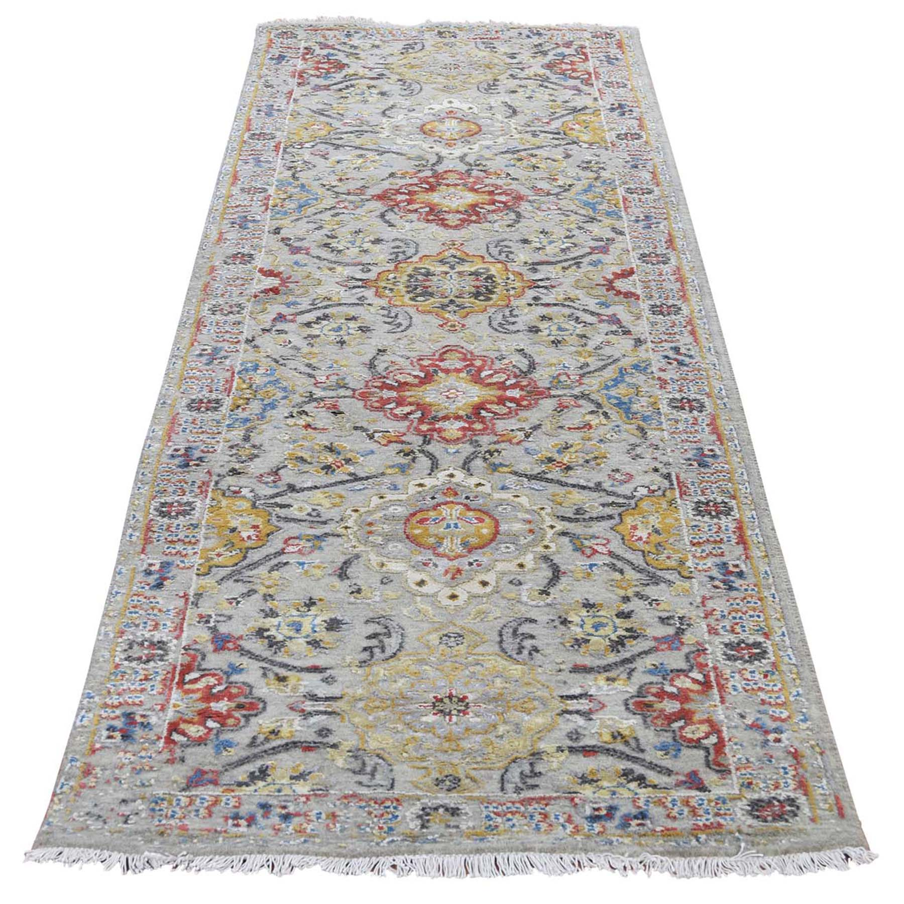 "2'6""X10' The Sunset Rosettes Pure Silk And Wool Runner Hand-Knotted Oriental Rug moad6ca0"