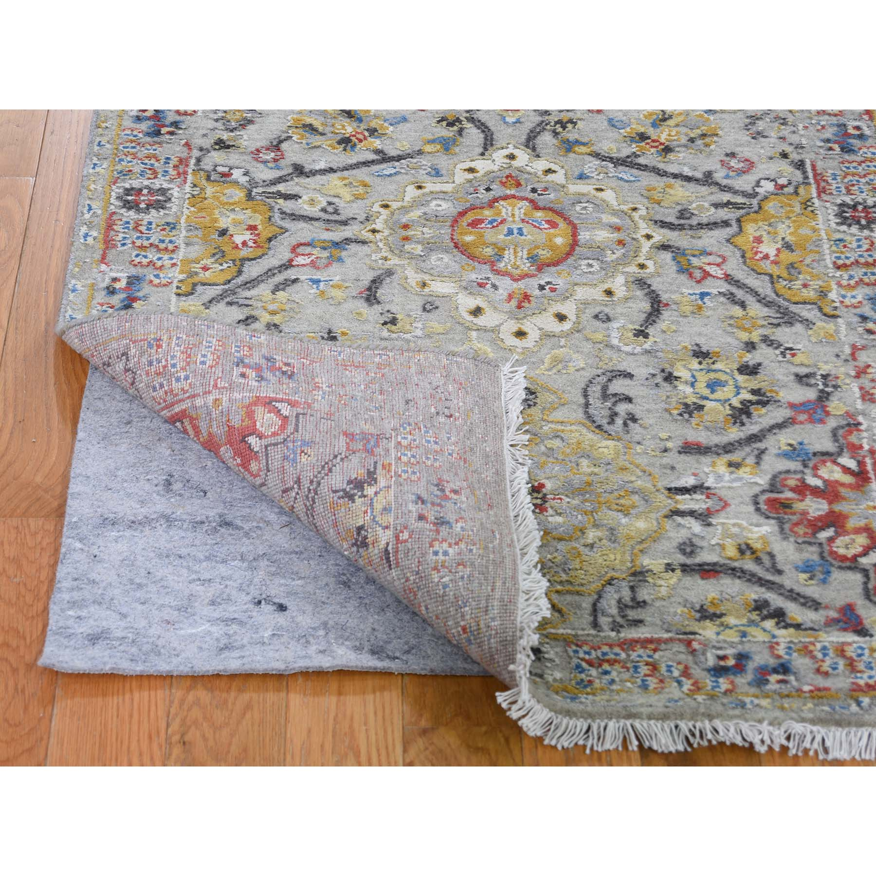 """2'6""""x10' THE SUNSET ROSETTES Pure Silk and Wool Runner Hand-Knotted Oriental Rug"""