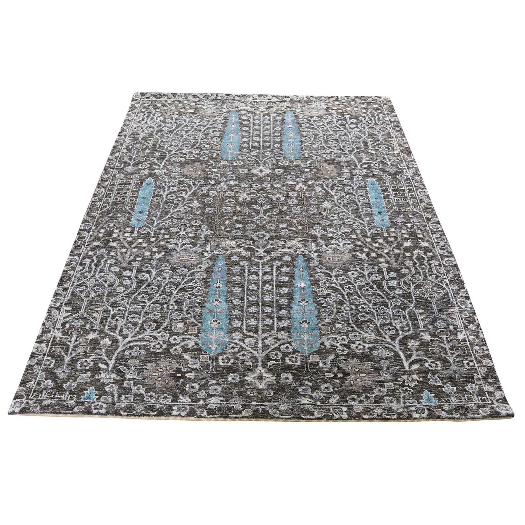 "4'2""X6' Hand-Knotted Cypress Tree Design Silk With Oxidized Wool Textured Oriental Rug moad6cae"
