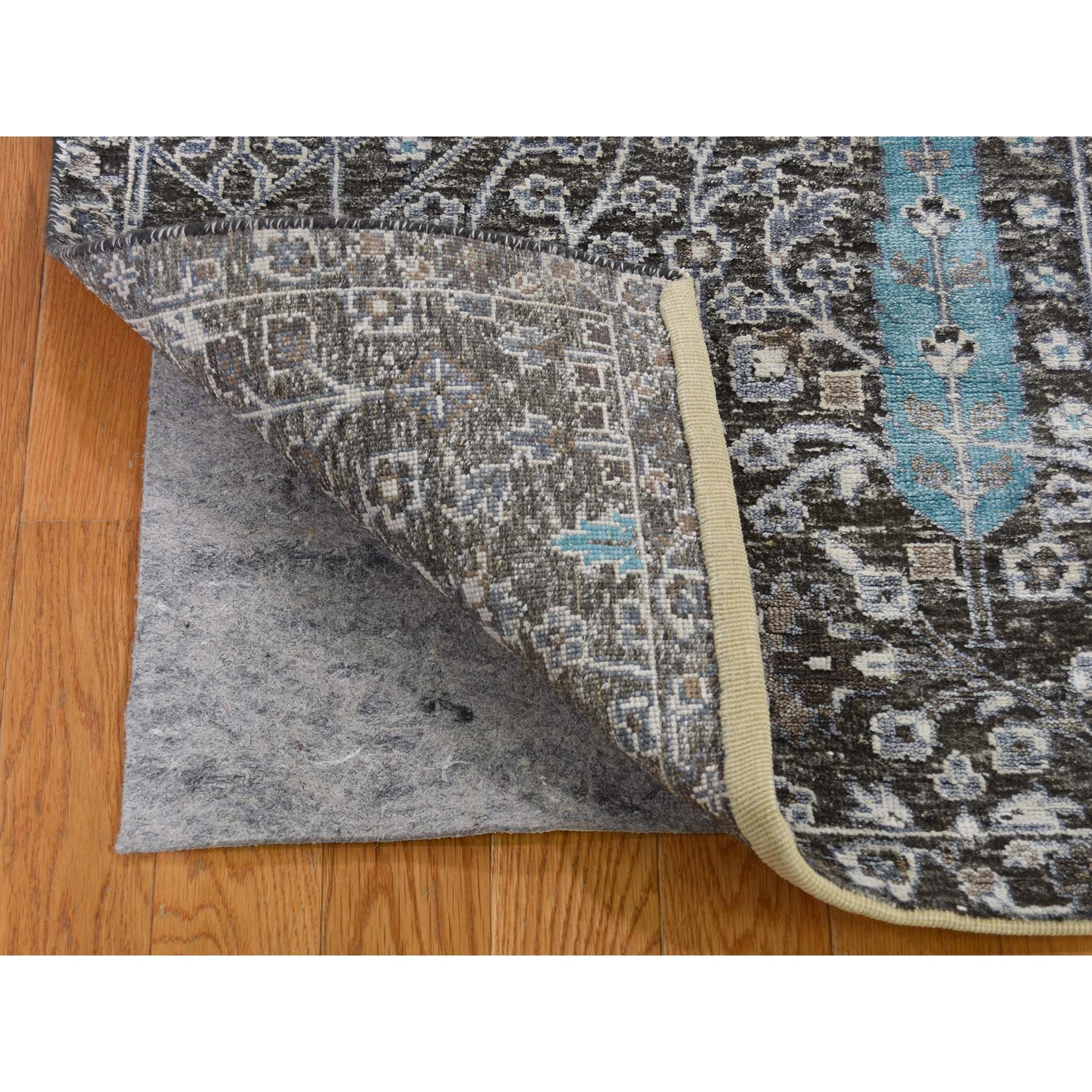 """4'2""""x6' Hand-Knotted Cypress Tree Design Silk with Textured Wool Oriental Rug"""