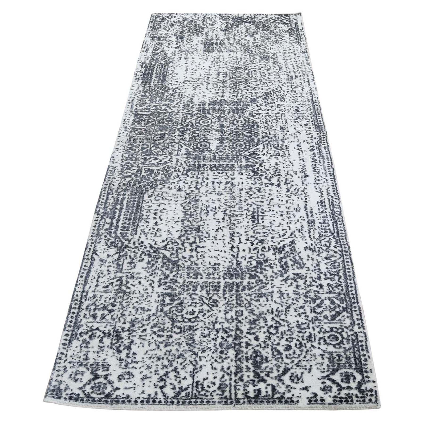 "2'5""X7'9"" Ivory Hand-Loomed Mamluk Design Runner Oriental Rug moad6cba"