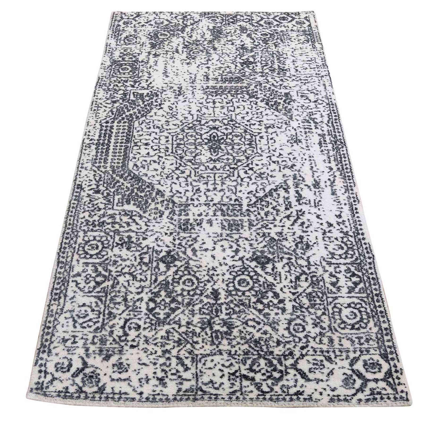 "2'5""x5'10"" Ivory Hand-Loomed With Mamluk Design Runner Oriental Rug"