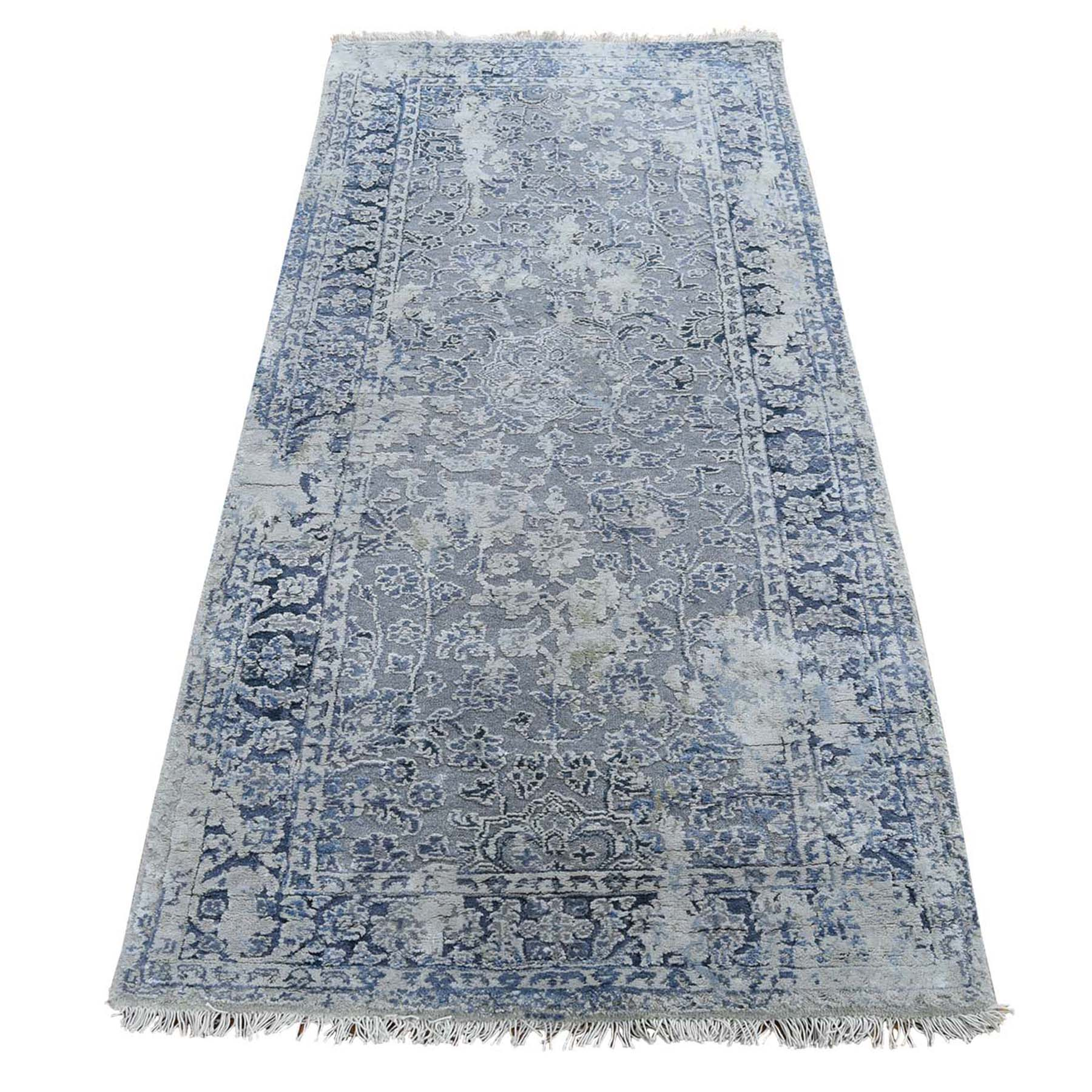 "2'6""x6' Broken Persian Erased Design With Pure Silk Runner Hand-Knotted Oriental Rug"