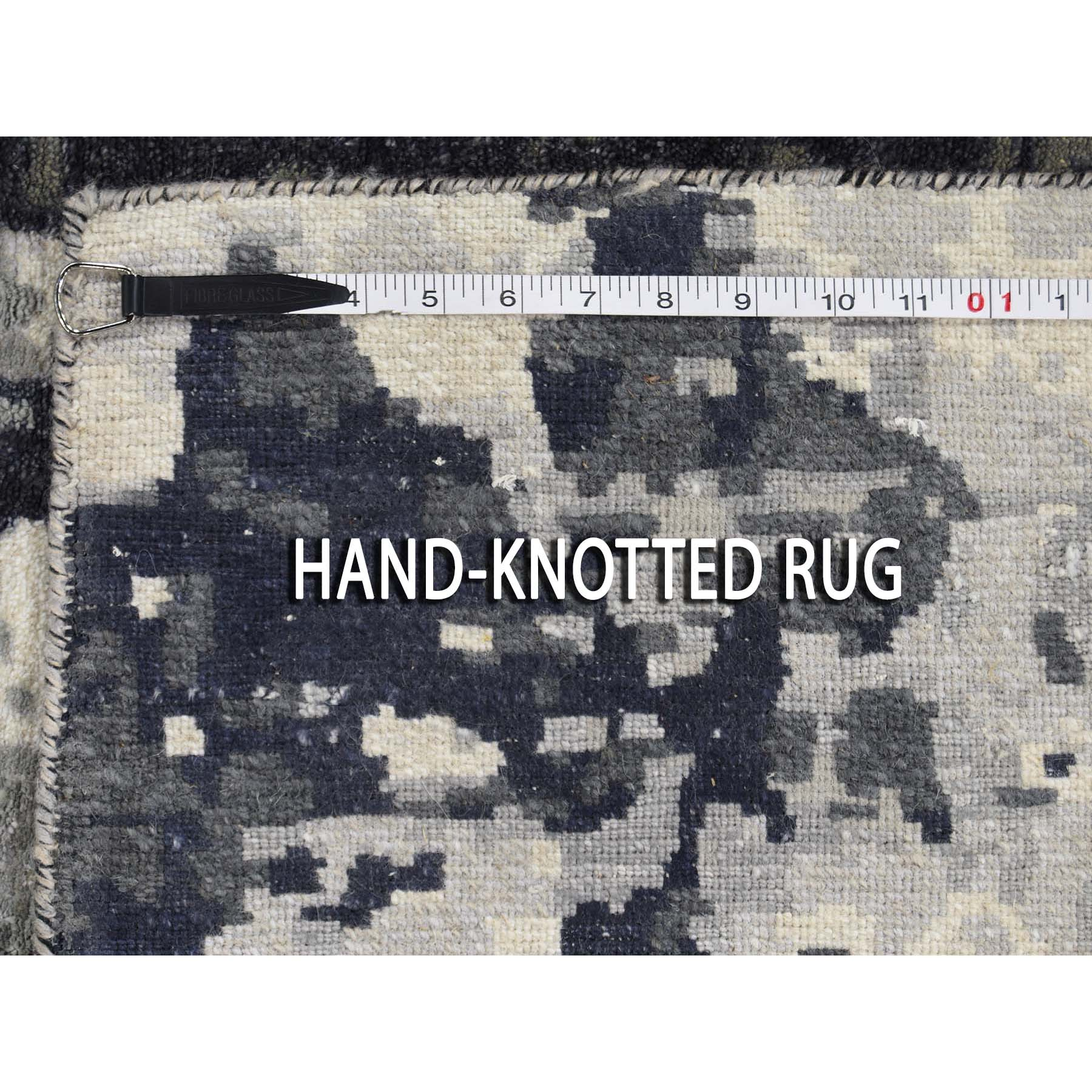 2-7 x5-9  Hi-Low Pile Abstract Design Wool And Silk Runner Hand-Knotted Oriental Rug