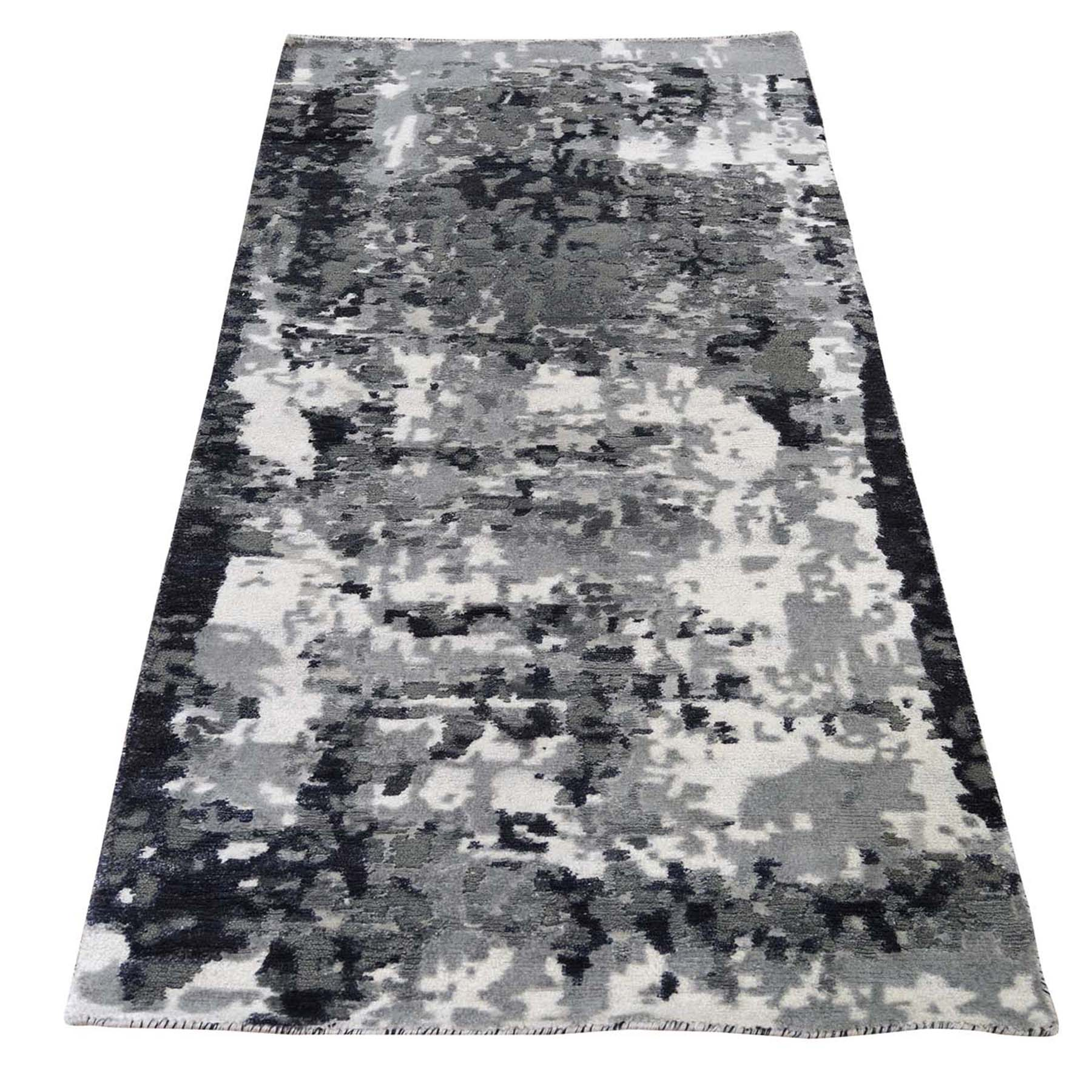 "2'7""X5'9"" Hi-Low Pile Abstract Design Wool And Silk Runner Hand-Knotted Oriental Rug moad6cce"