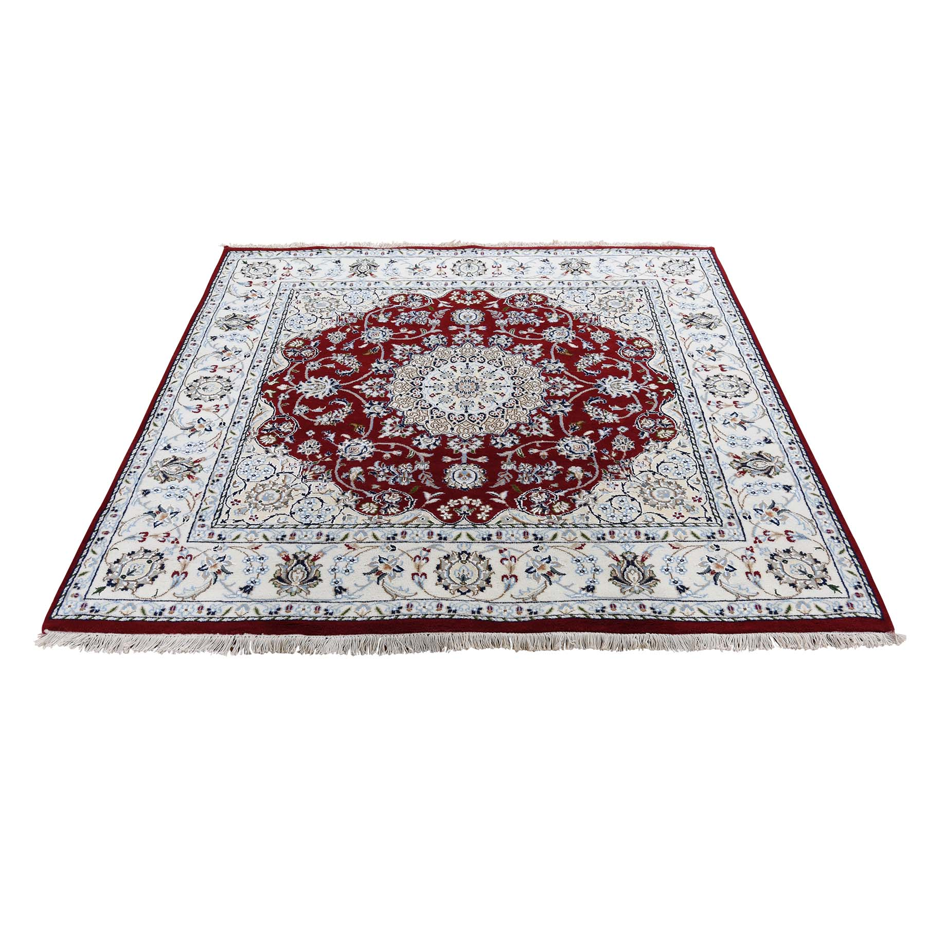 5'X5' Square Wool And Silk 250 Kpsi Red Nain Hand-Knotted Oriental Rug moad6c68