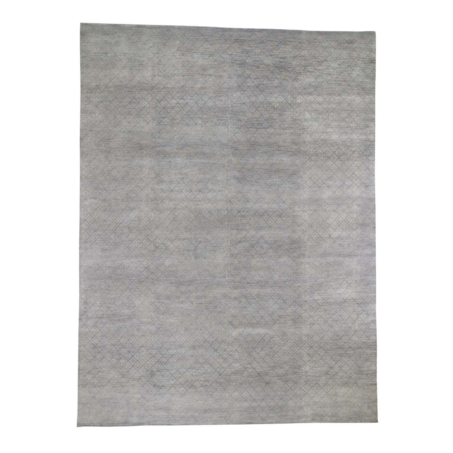 "8'10""X11'10"" Gray Modern Tone On Tone Wool And Silk Hand Knotted Oriental Rug moad6c78"