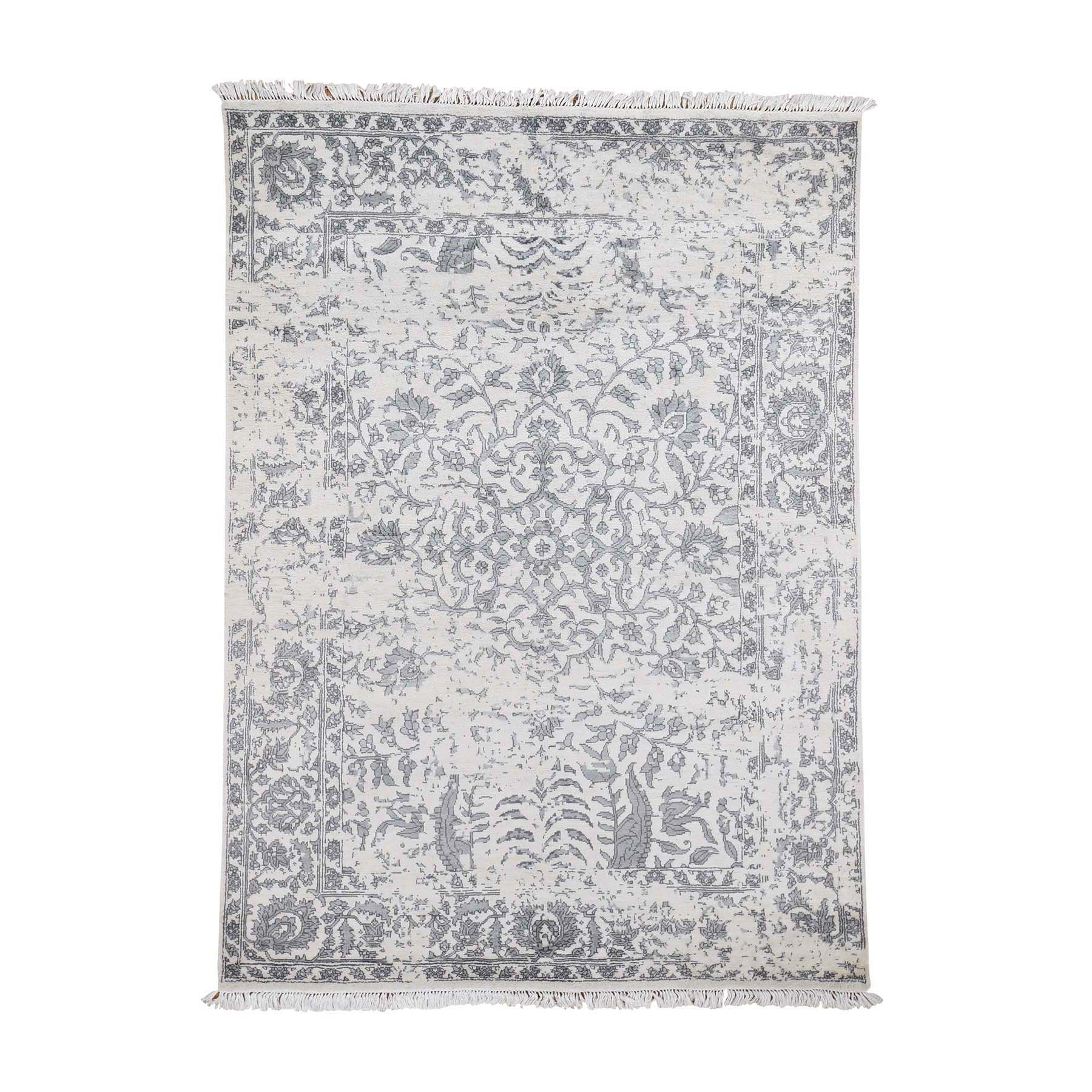 "5'2""X7'  Ivory Modern Broken Design Art Silk Hand-Knotted Oriental Rug moad6c80"