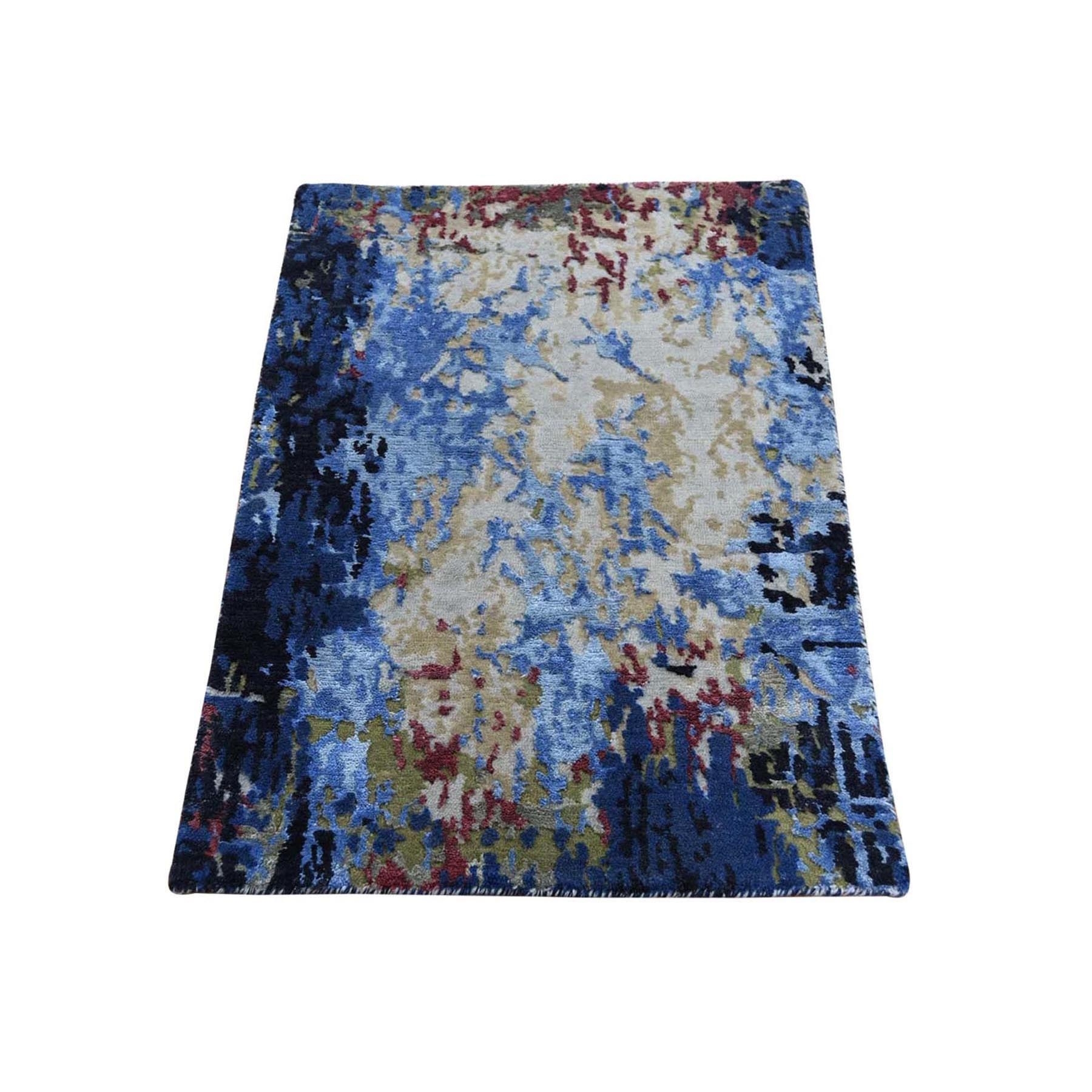 "1'10""x3' Sampler Hi-Low Pile Abstract Design Wool And Silk Hand-Knotted Oriental Rug"