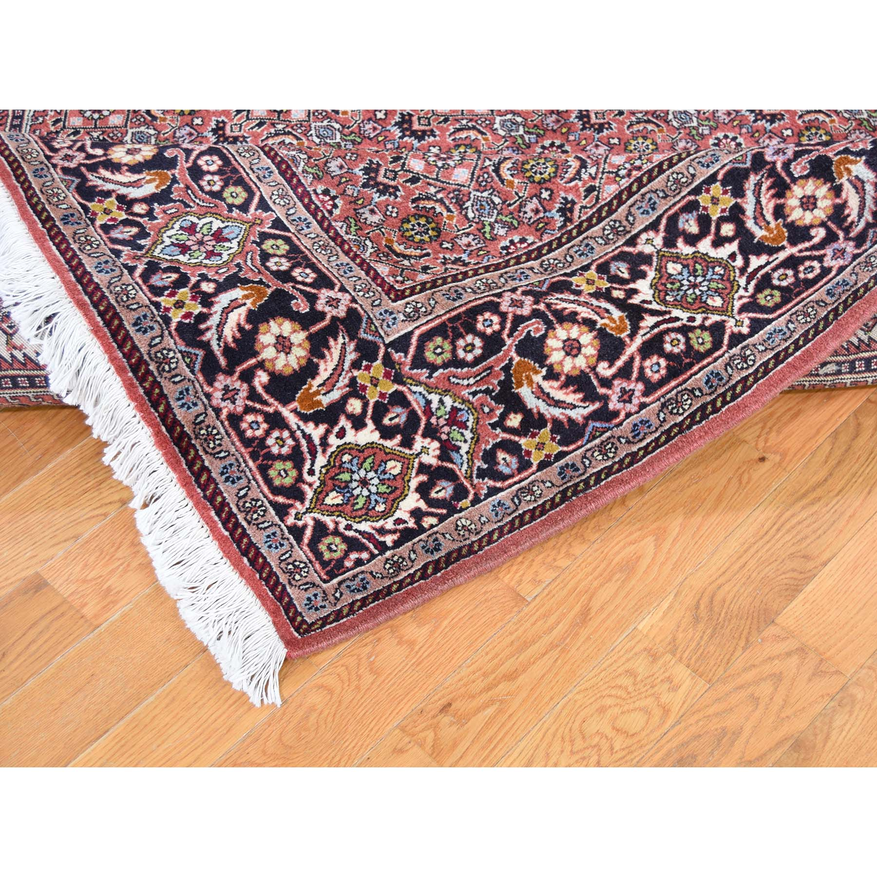 "6'7""x9'8"" Light Pink New Persian Bijar 300 KPSI Hand-Knotted Oriental Rug"