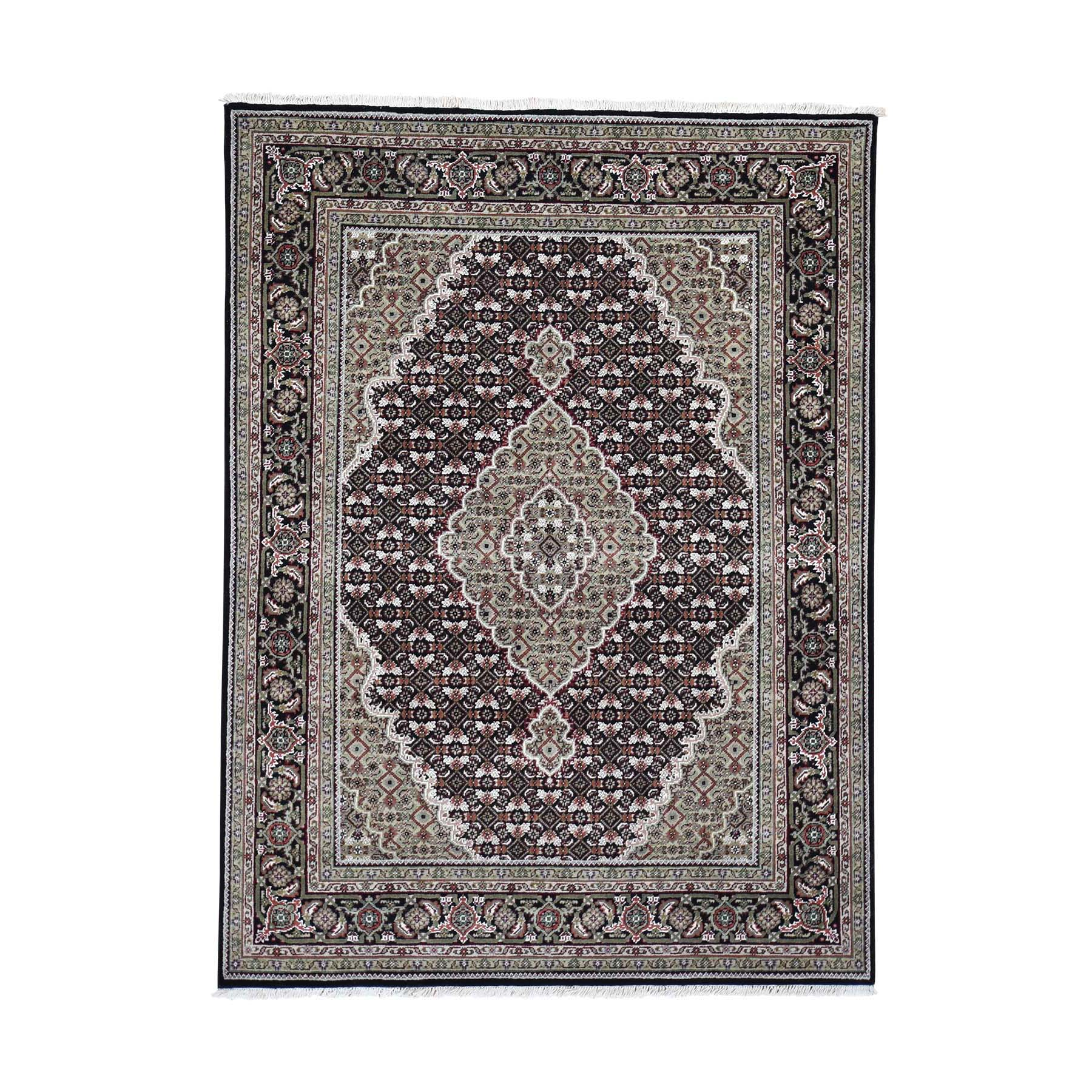 "5'X6'8"" Black Tabriz Mahi Wool And Silk Hand-Knotted Oriental Rug moad6dac"