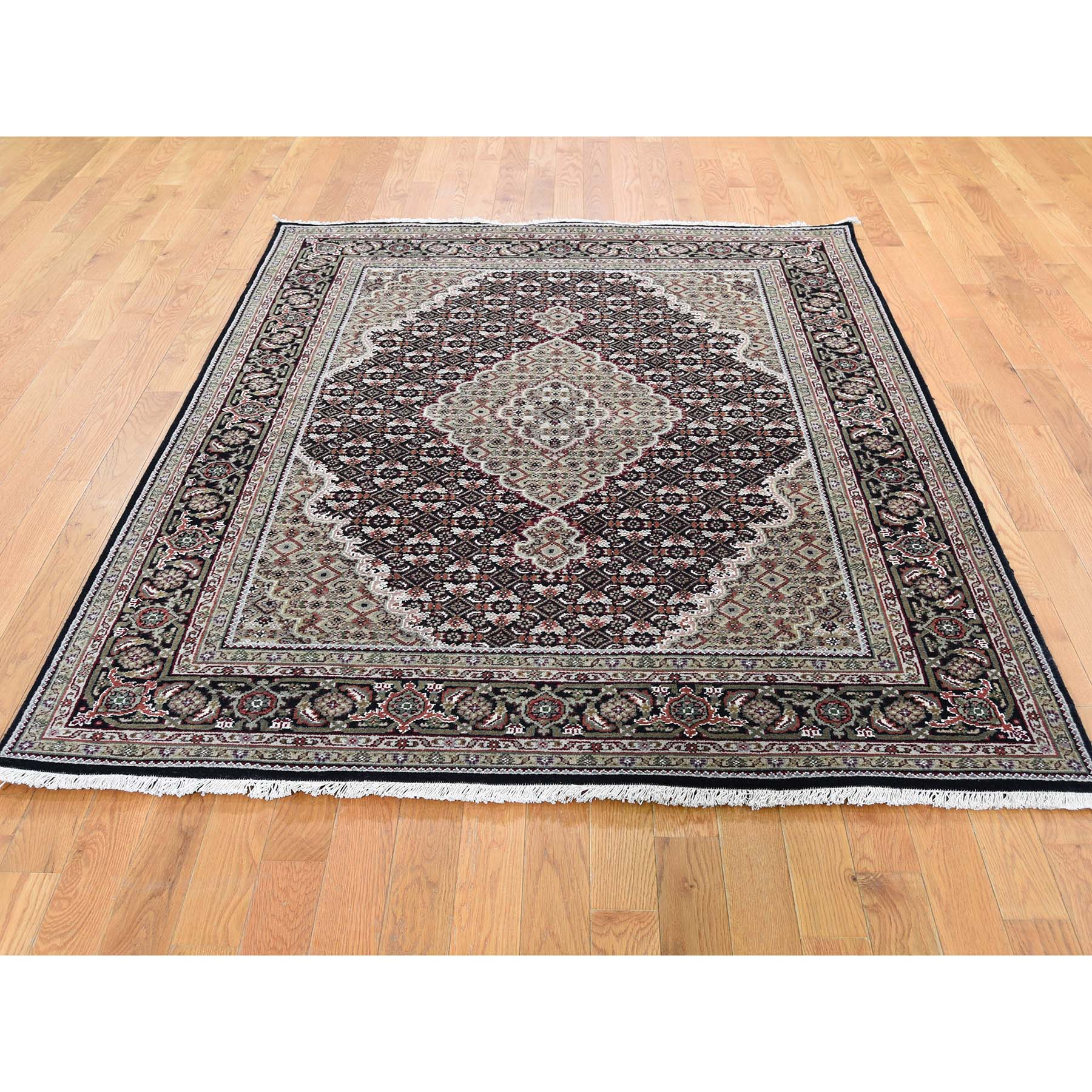 "5'x6'8"" Black Tabriz Mahi Wool and Silk Hand-Knotted Oriental Rug"