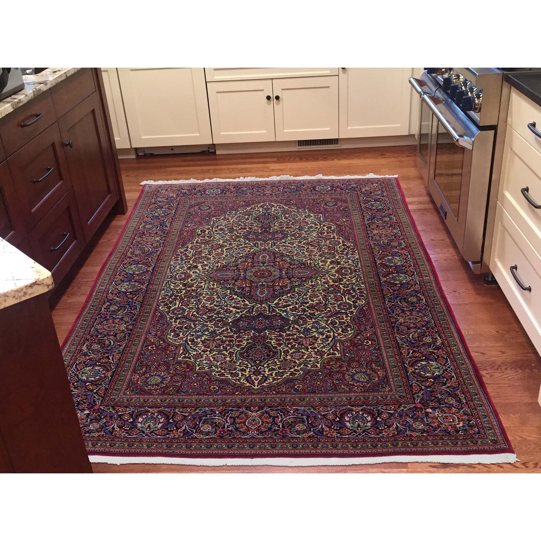 "4'5""x6'9"" Ivory Antique Persian Kashan 300 KPSI Kork wool Hand-Knotted Oriental Rug"