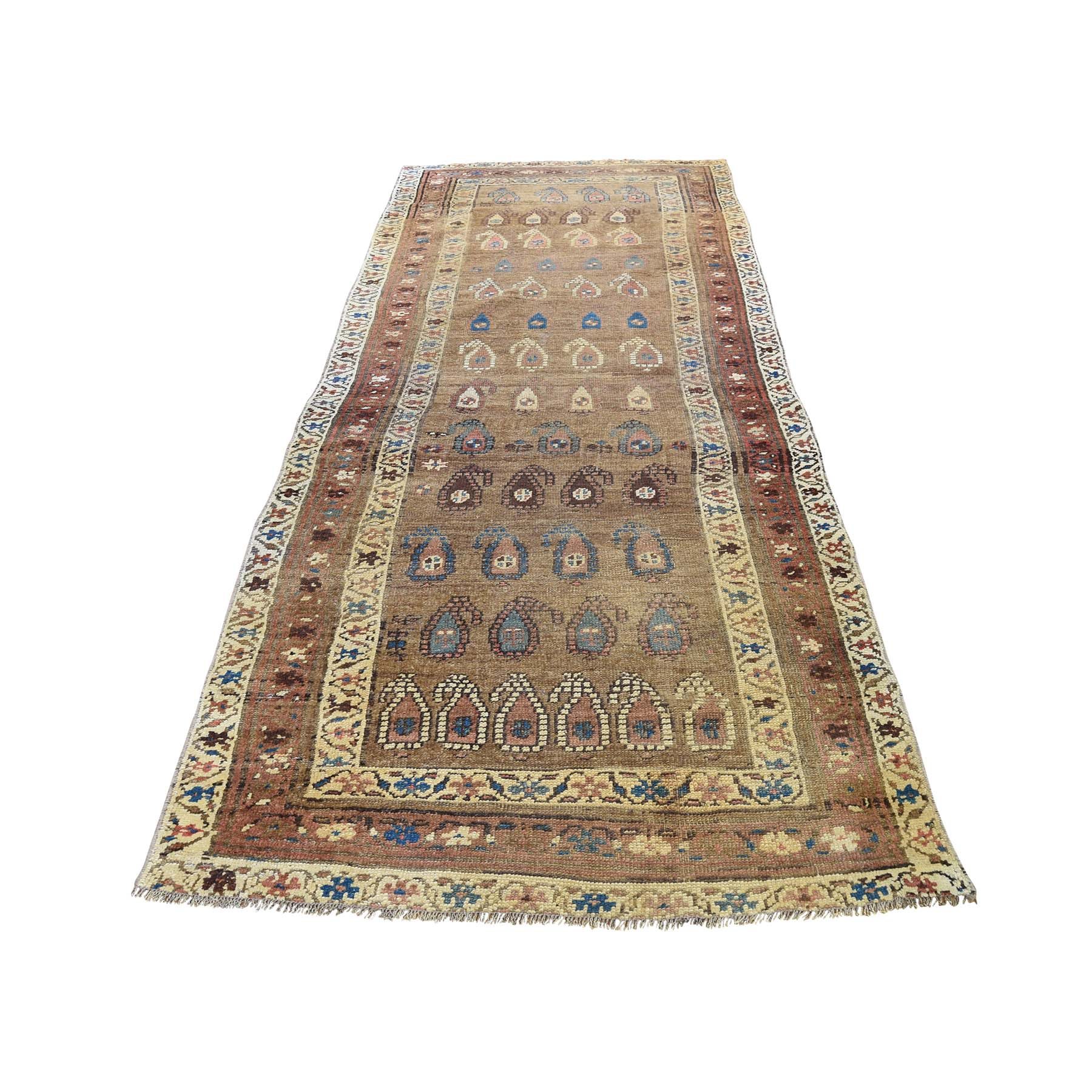 "3'9""X10'7"" Antique Persian North West Boteh Design Camel Hair Wide Runner Hand-Knotted Oriental Rug moad6dc0"