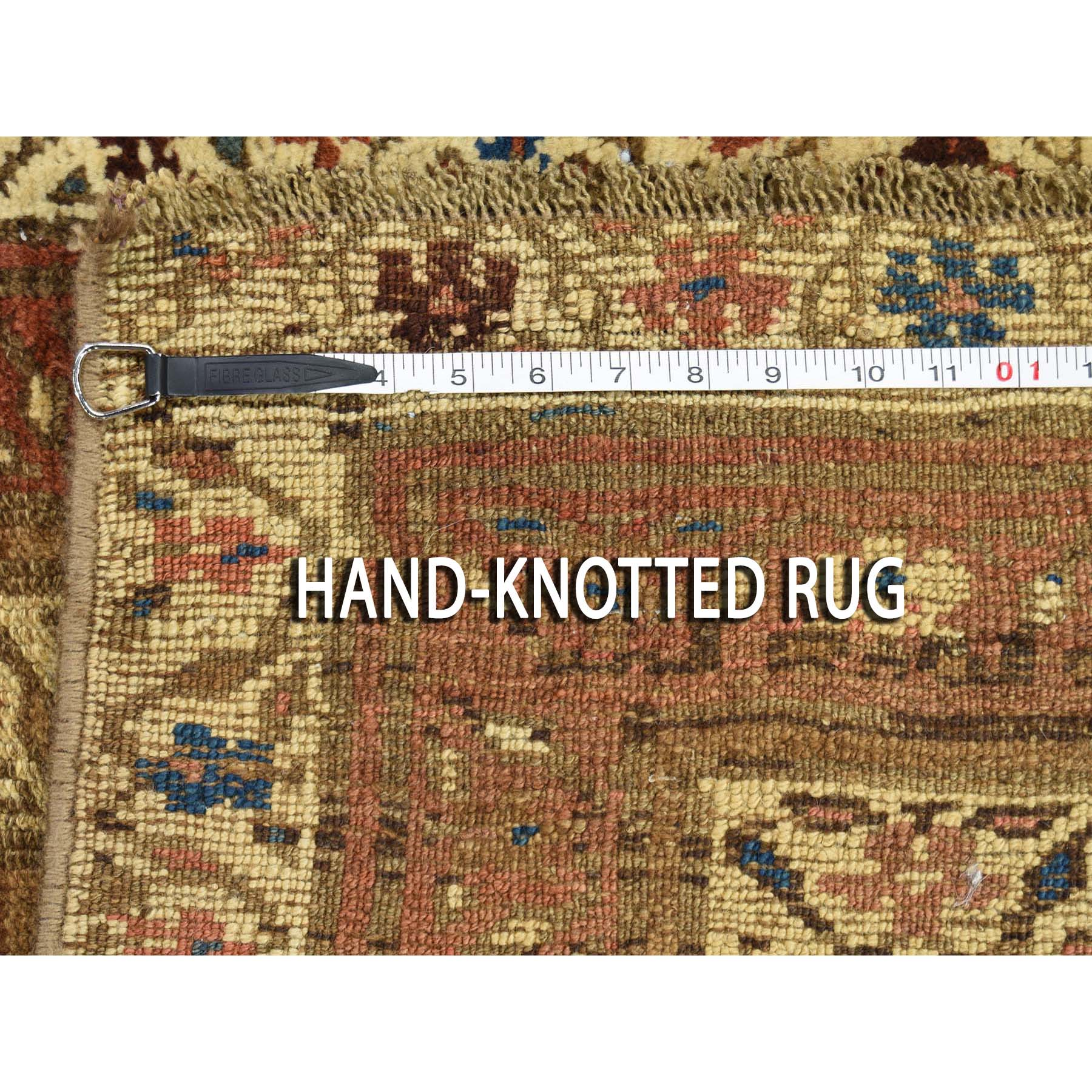 """3'9""""x10'7"""" Antique Persian North West Boteh Design Camel Hair Wide Runner Hand-Knotted Oriental Rug"""