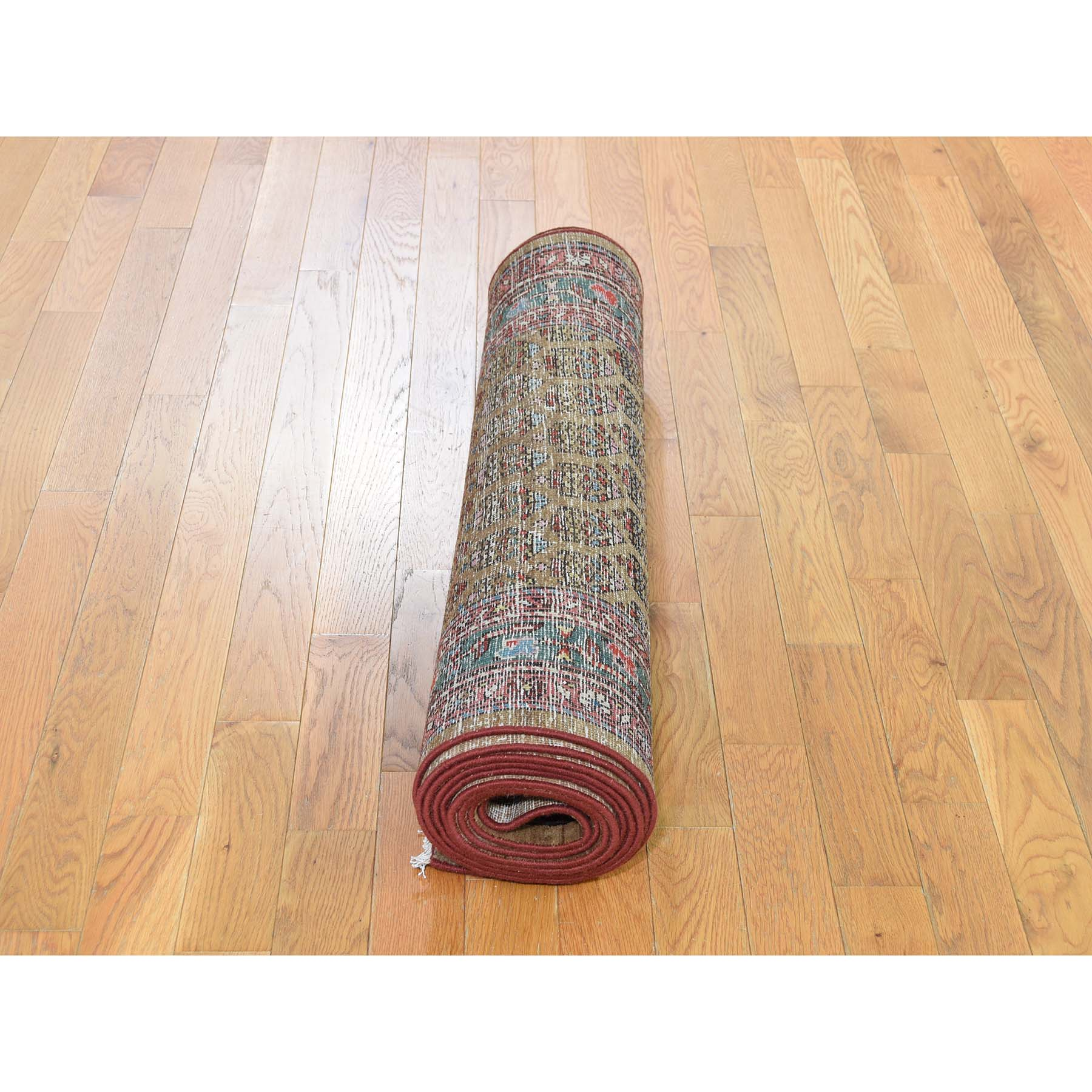 """3'3""""x13' Antique Persian Heriz Worn Pile camel Hair Some Wear Runner Hand-Knotted Oriental Rug"""