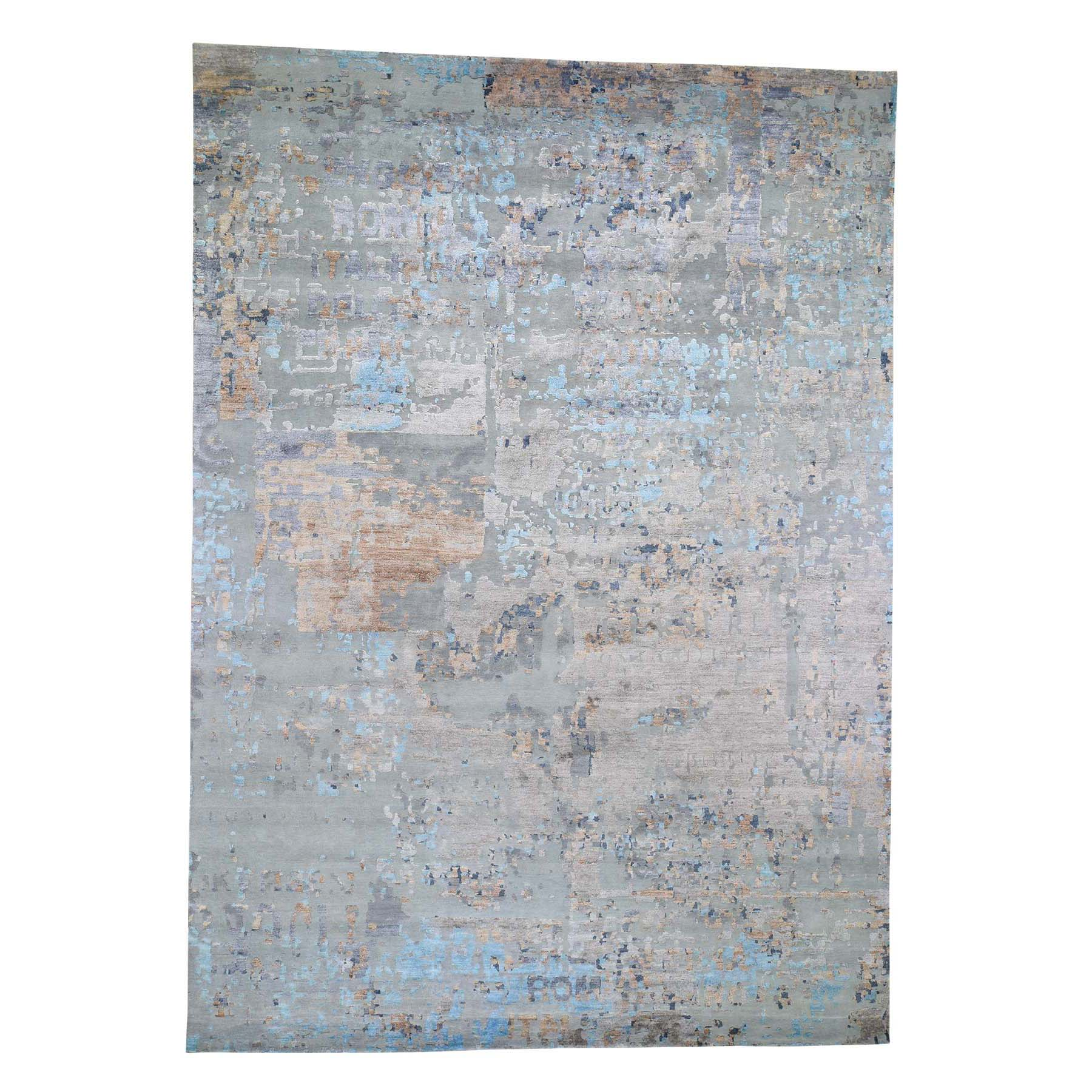 "10'1""X14'2"" Abstract Design Wool And Silk Hi-Low Pile Hand Knotted Oriental Rug moad6dcc"