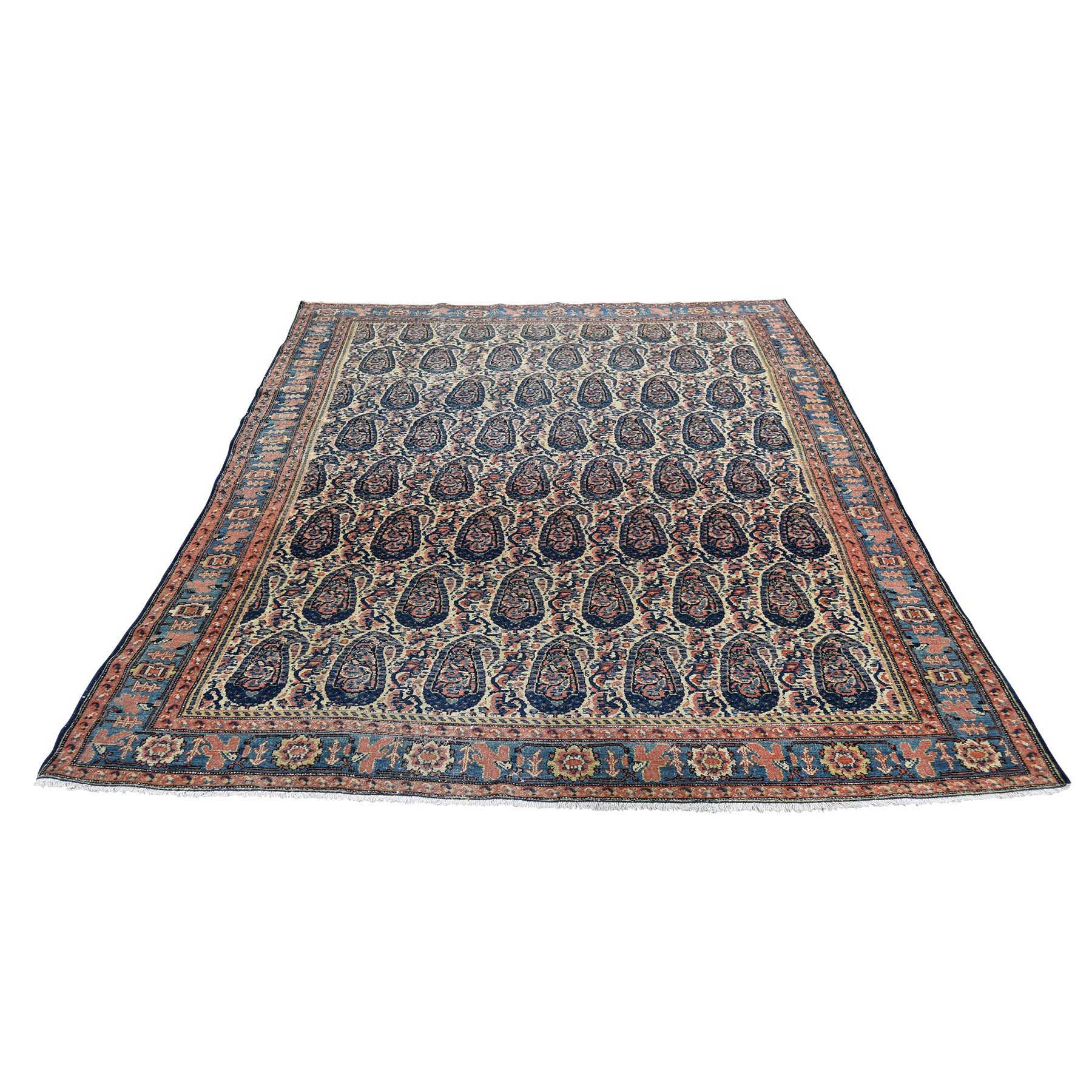 "4'4""X6'4"" Antique Persian Senneh Paisley Design Exc Condition Hand-Knotted Oriental Rug moad6dc7"