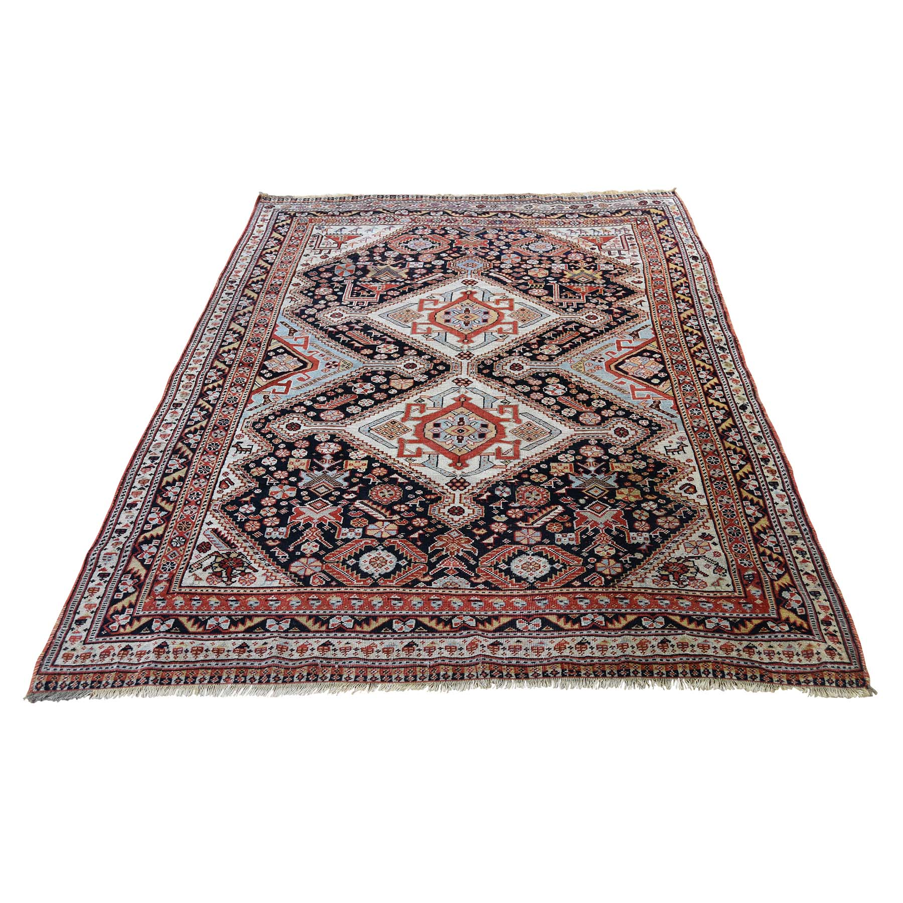 "4'2""X6' Antique Persian Qashqai Ever Wear Pure Wool Hand-Knotted Oriental Rug moad6dc8"