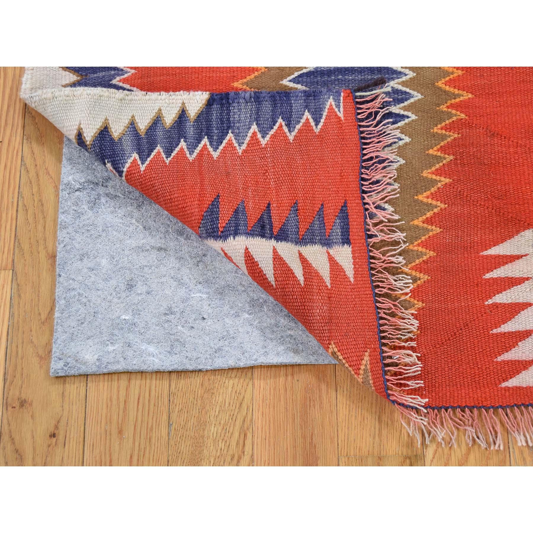 4-9 x6-5  Vintage American Indian Navajo Flat Weave Hand-Woven  Rug