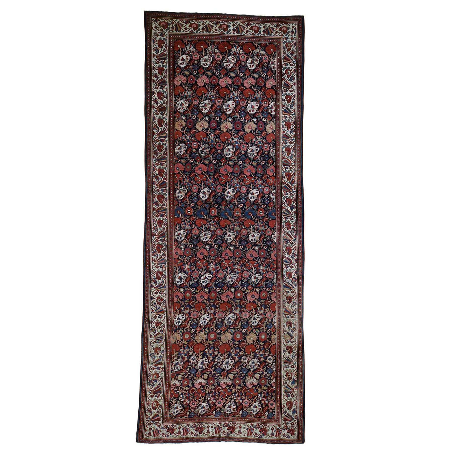 "7'4""X19'5"" Antique Persian Bakhtiari Wide Gallery Runner Flower Design Hand-Knotted Oriental Rug moad6ddb"