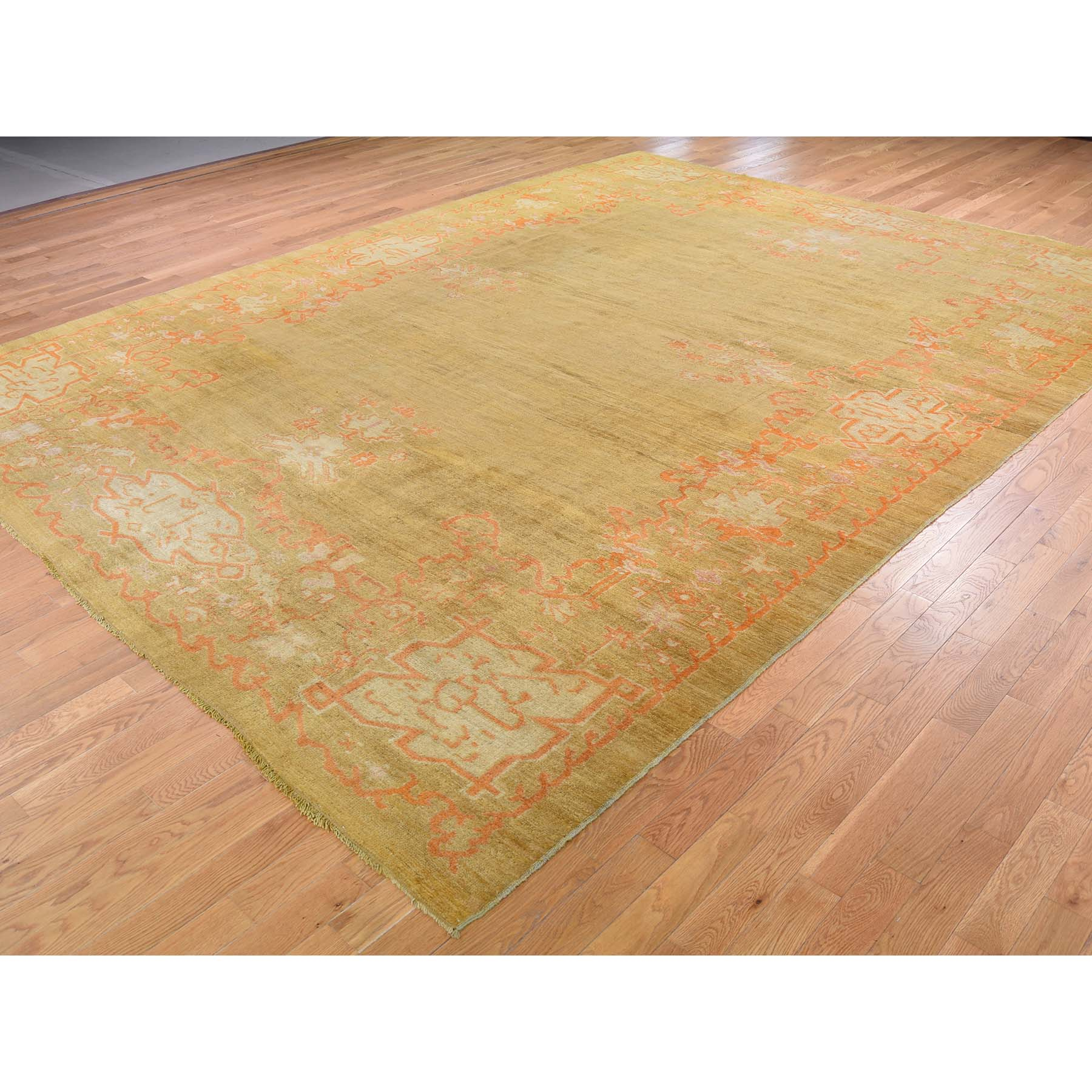 """10'2""""x13'6"""" Antique Turkish Oushak Even Wear Pure Wool Hand-Knotted Oriental Rug"""