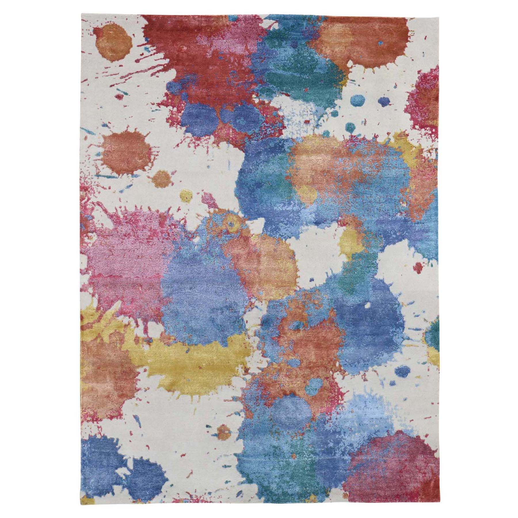 "5'1""X6'8"" Modern Wool & Silk Splash Design Thick And Plush Hand-Knotted Oriental Rug moad6deb"