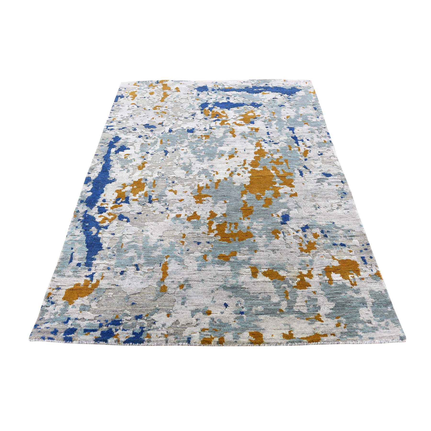 "3'x5'1"" Abstract Design Wool And Silk Hi-Low Pile Hand-Knotted Oriental Rug"
