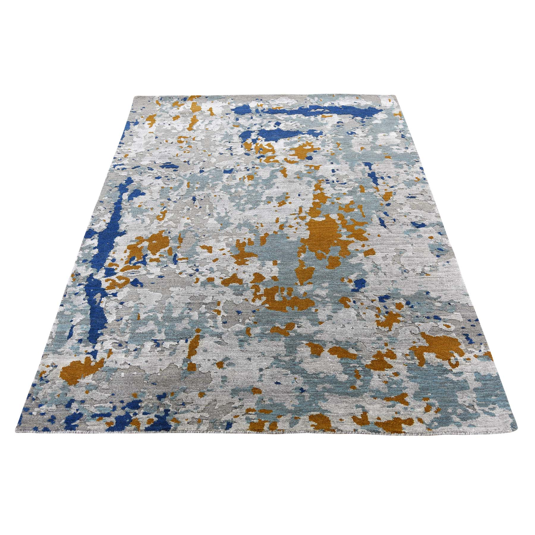 "3'10""X5'10"" Hi-Low Pile Abstract Design Wool And Silk Runner Hand-Knotted Modern Rug moad6de6"