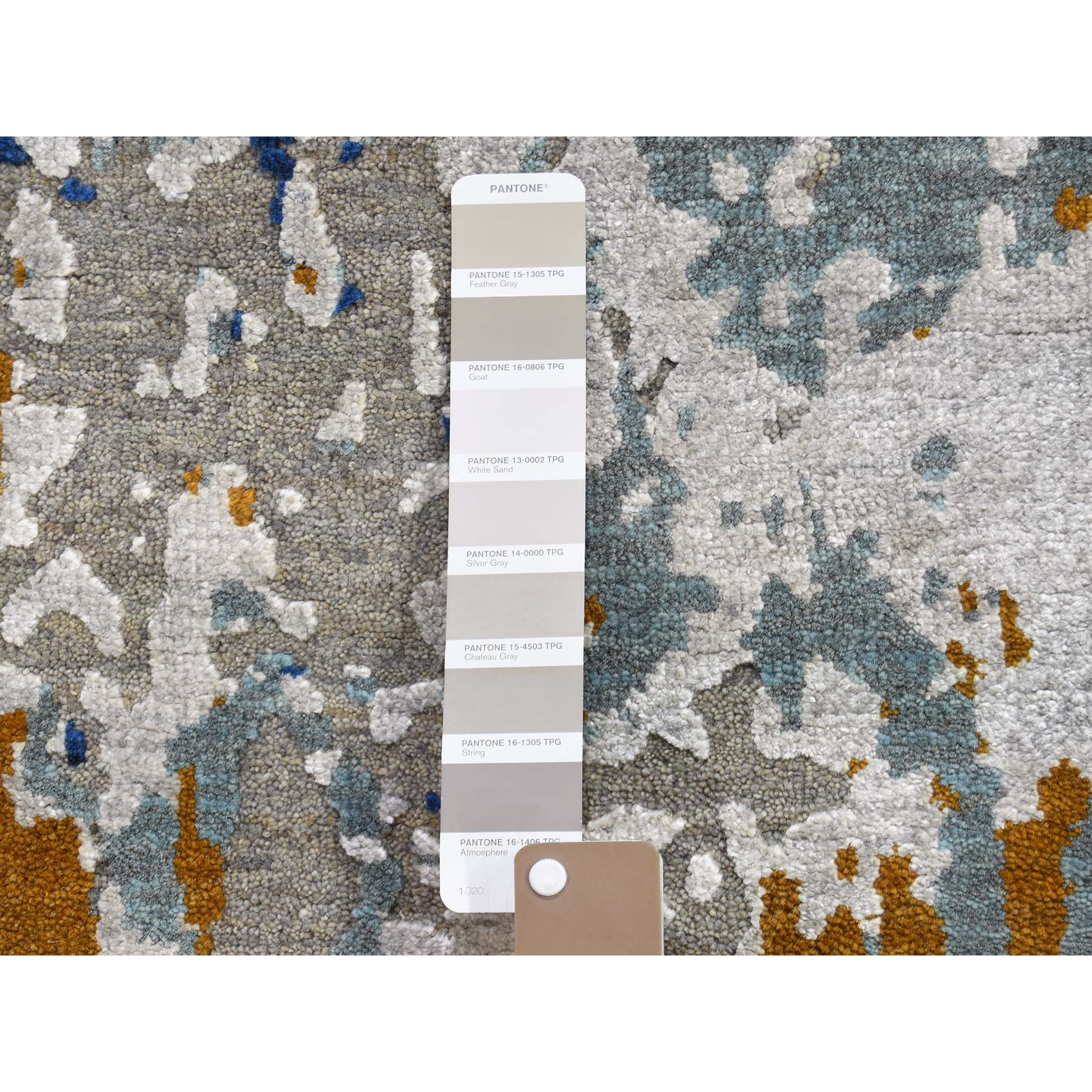 """3'10""""x5'10"""" Hi-Low Pile Abstract Design Wool And Silk Runner Hand-Knotted Modern Rug"""