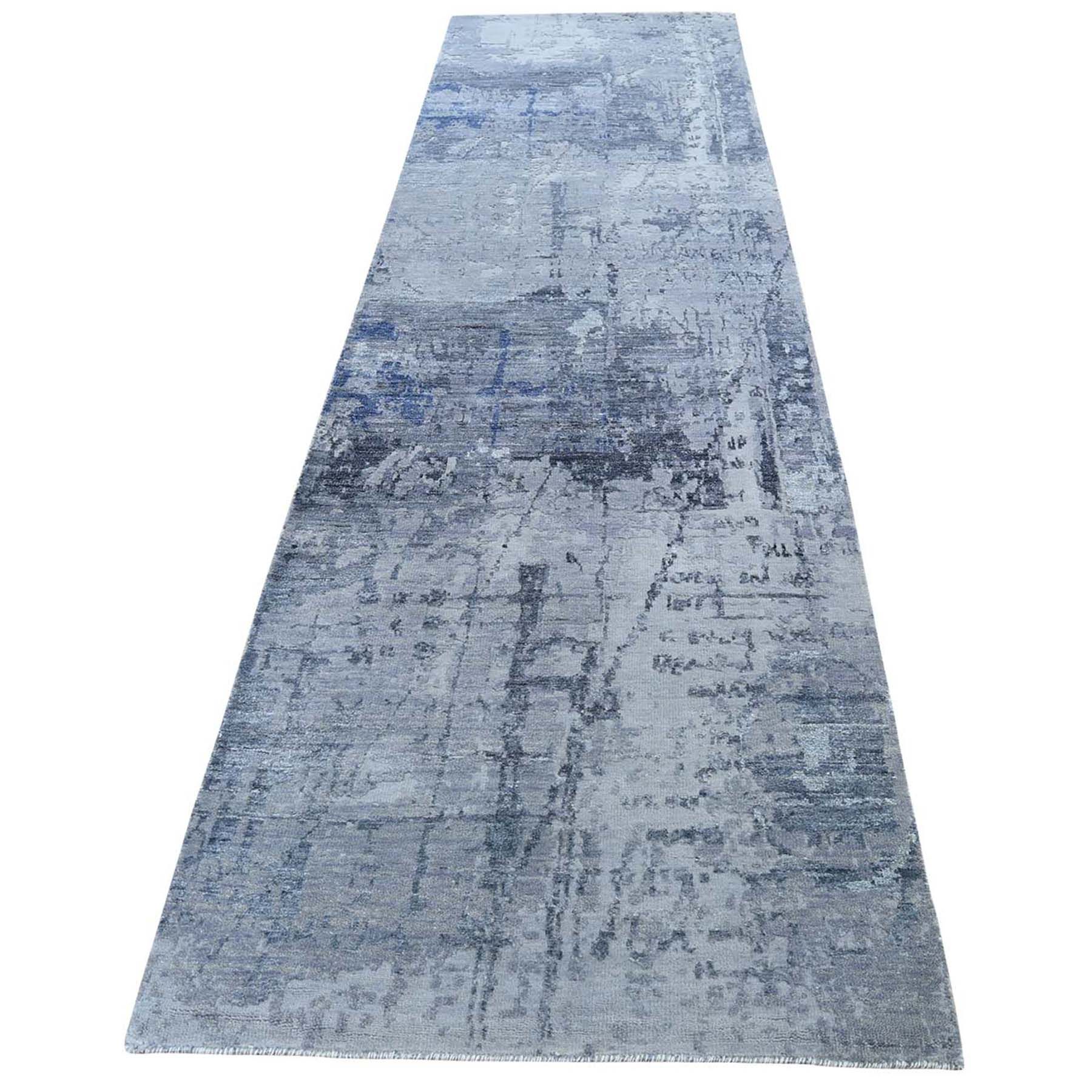 "2'8""X11'6"" Abstract Design Hi-Low Pile Wool And Silk Hand-Knotted Runner Oriental Rug moad6d60"