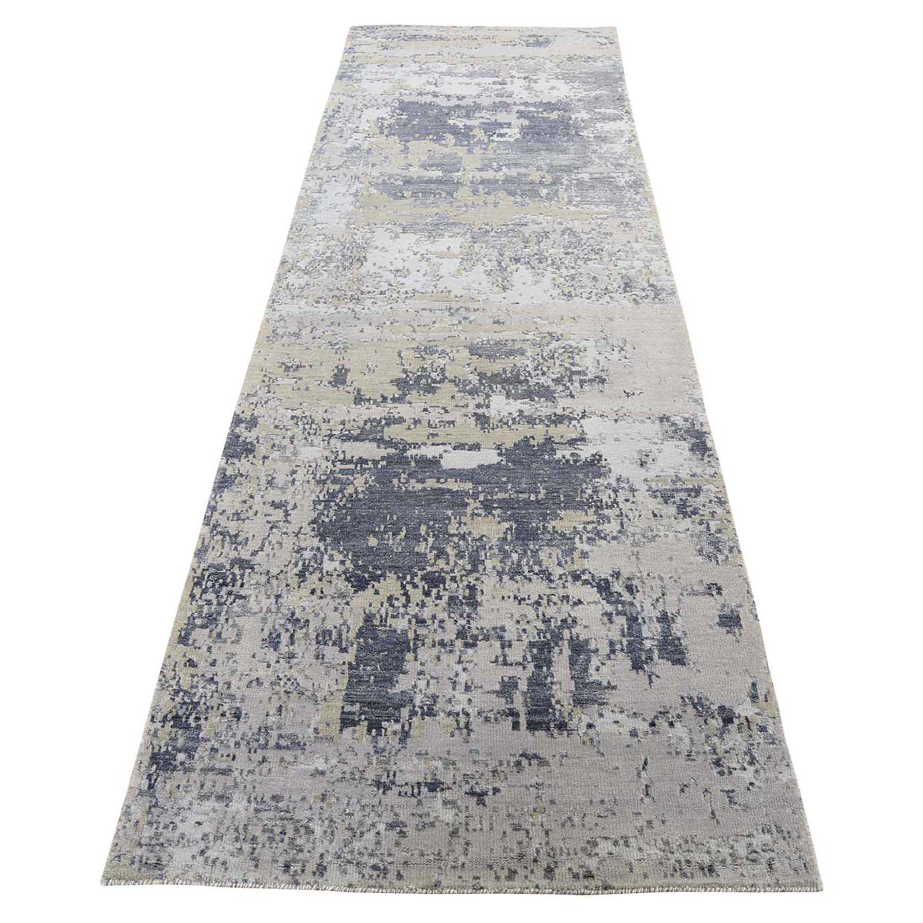 "2'8""X10' Hi-Low Pile Abstract Design Wool And Silk Runner Hand-Knotted Oriental Rug moad6d6a"